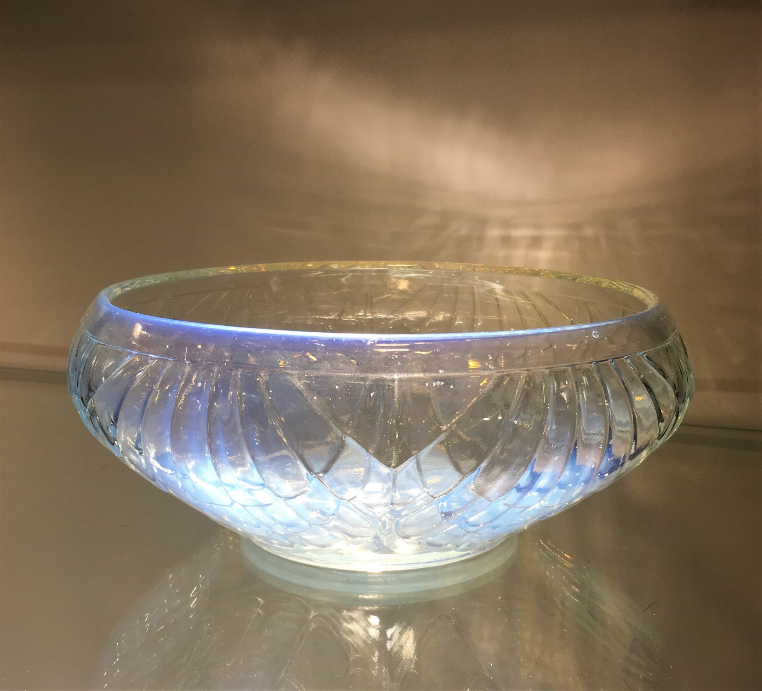 art deco opalescent oyster shell design bowl signed joblings c1920