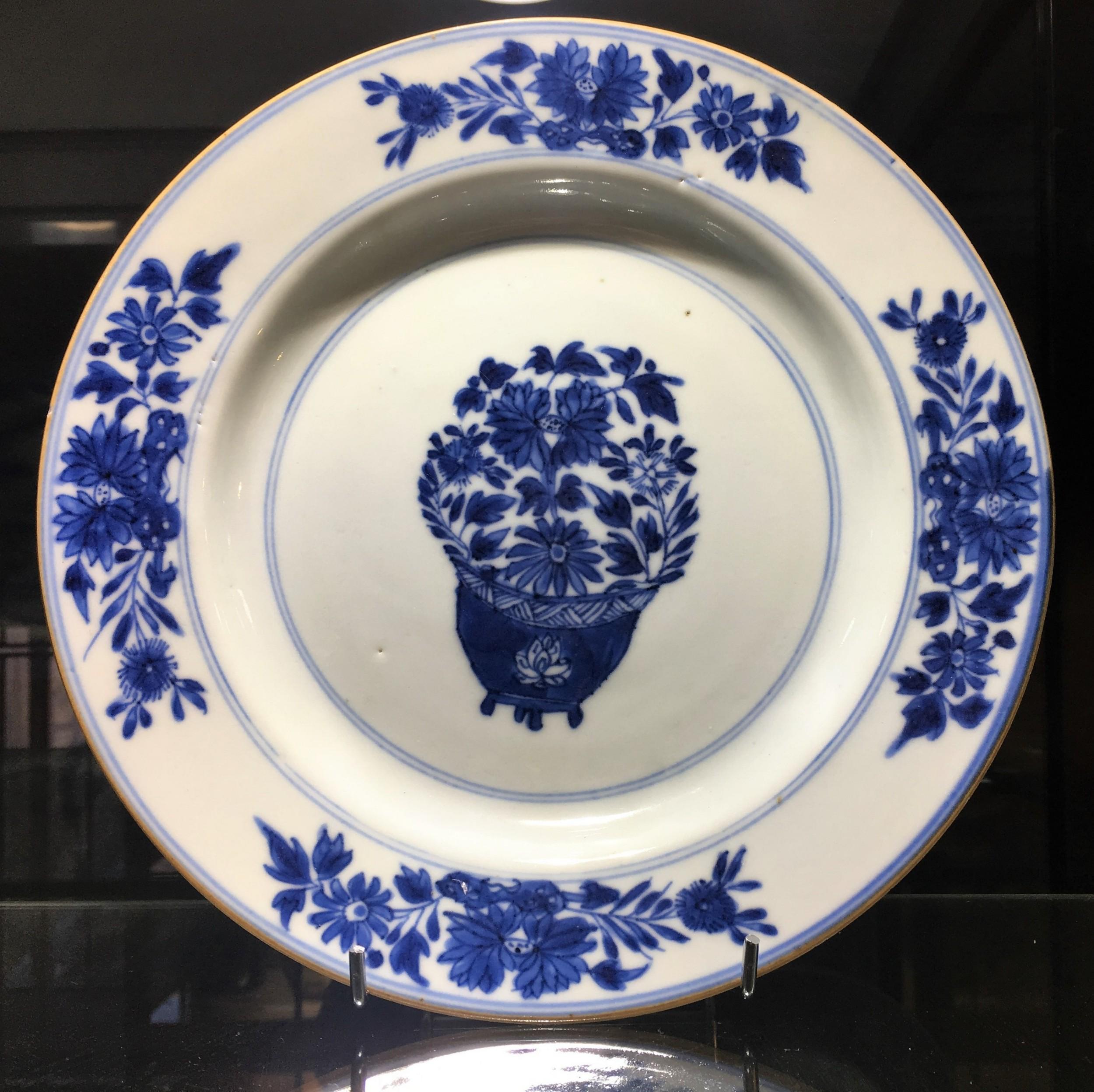 chinese kangxi blue white dish flower in jardiniere motif c18th