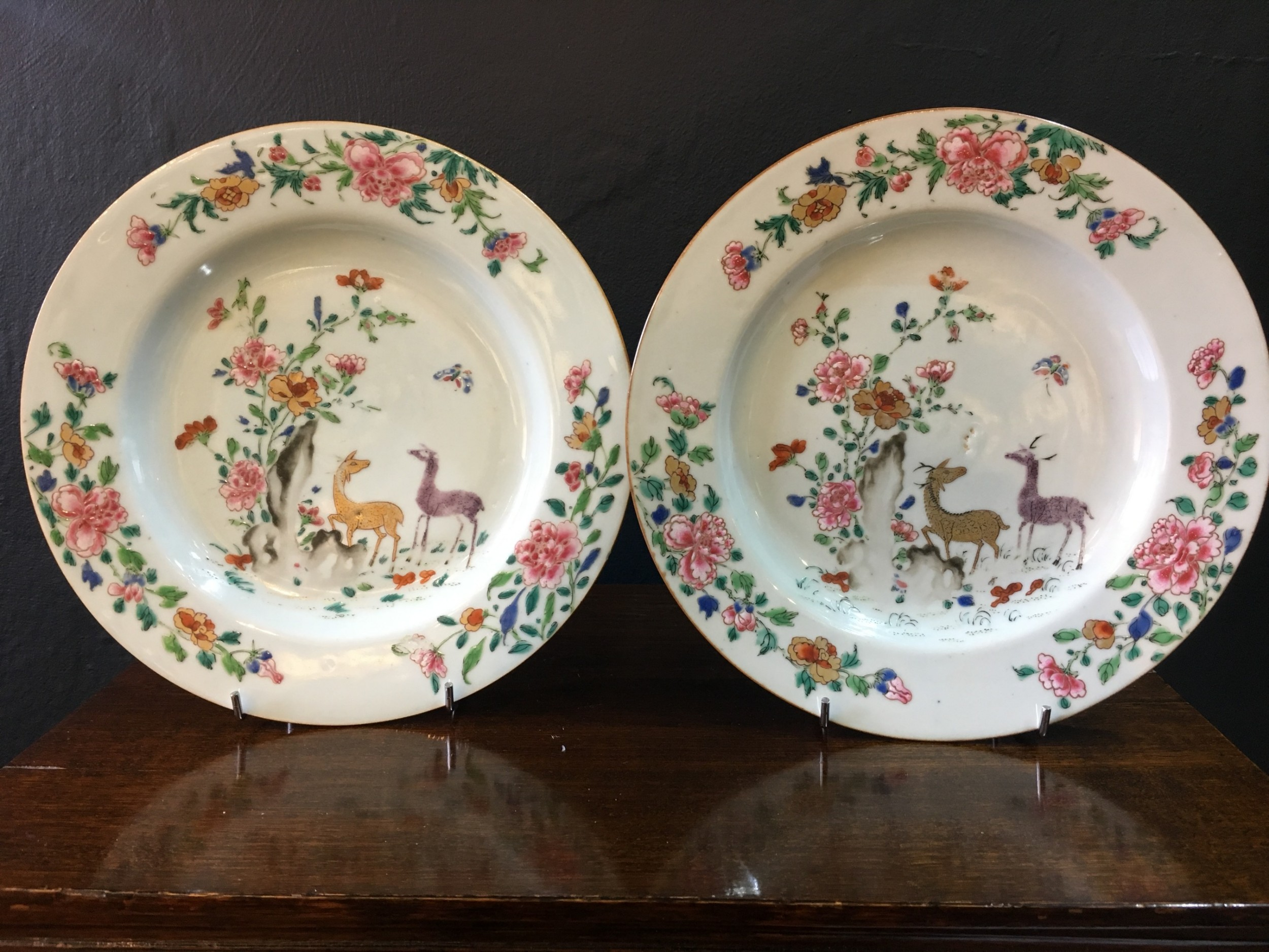 pair of qianlong famille rose dishes deers peonies in garden c18th