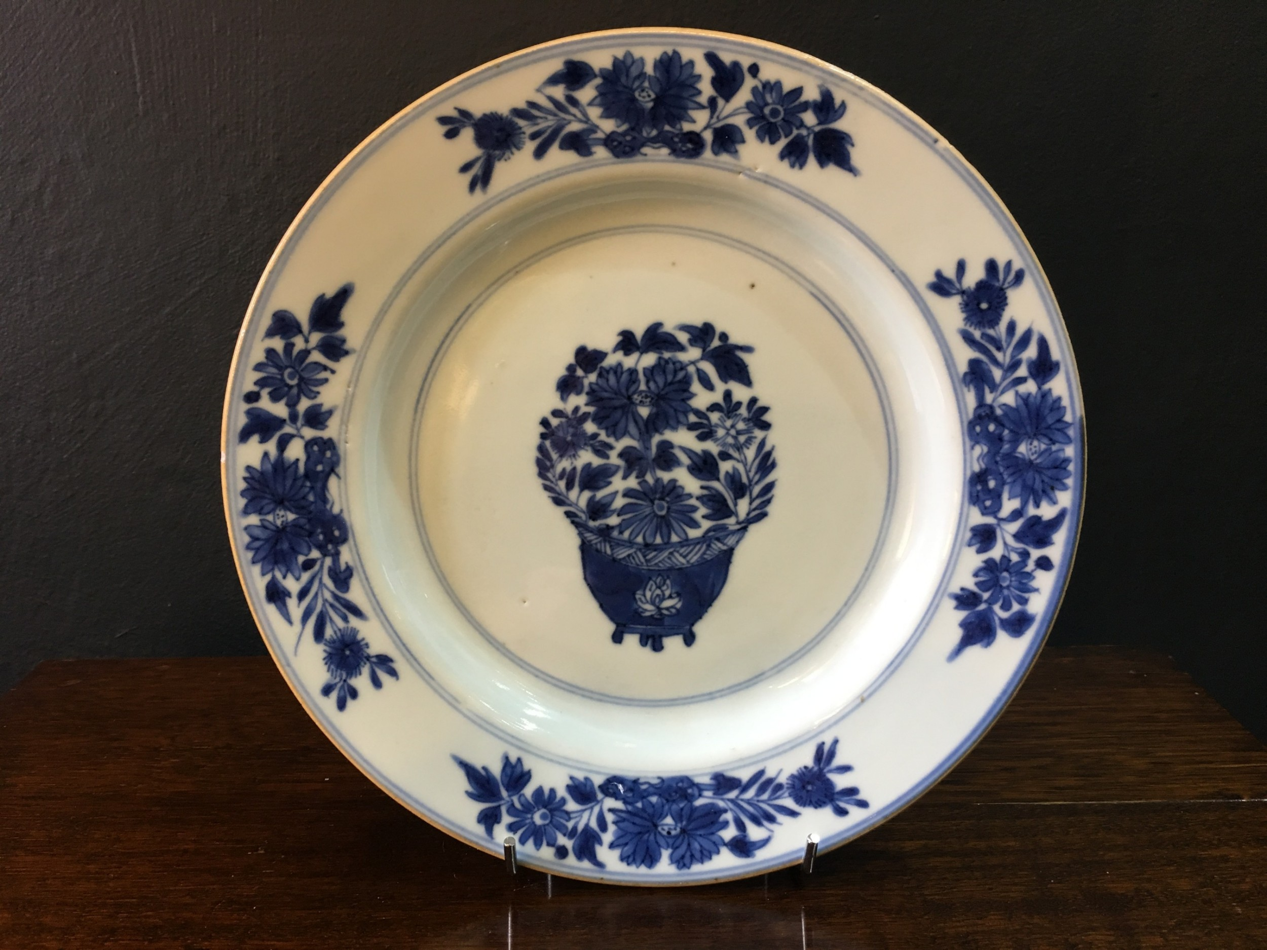 kangxi period blue white dish flower in jardineiere motif c16221722