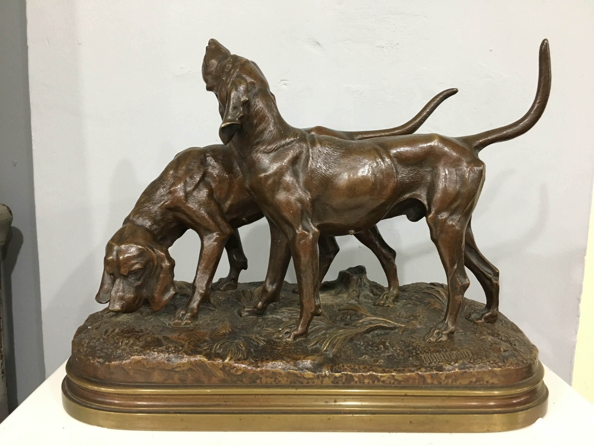 alfred dubucand signed orignial french bronze casting of a pair of hunting dogs c19th