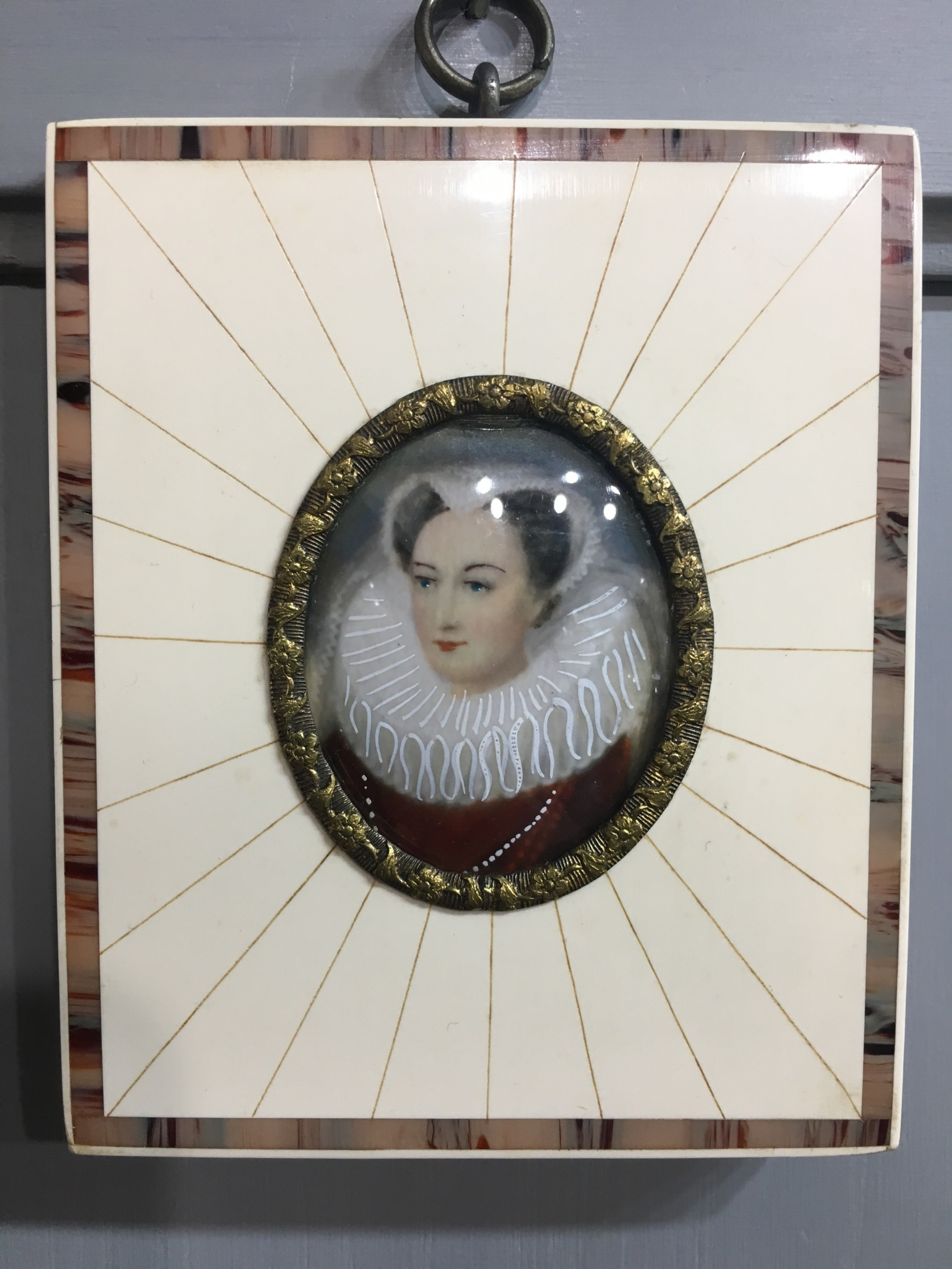 miniature portrait of mary stuart mounted in ivory early c20th