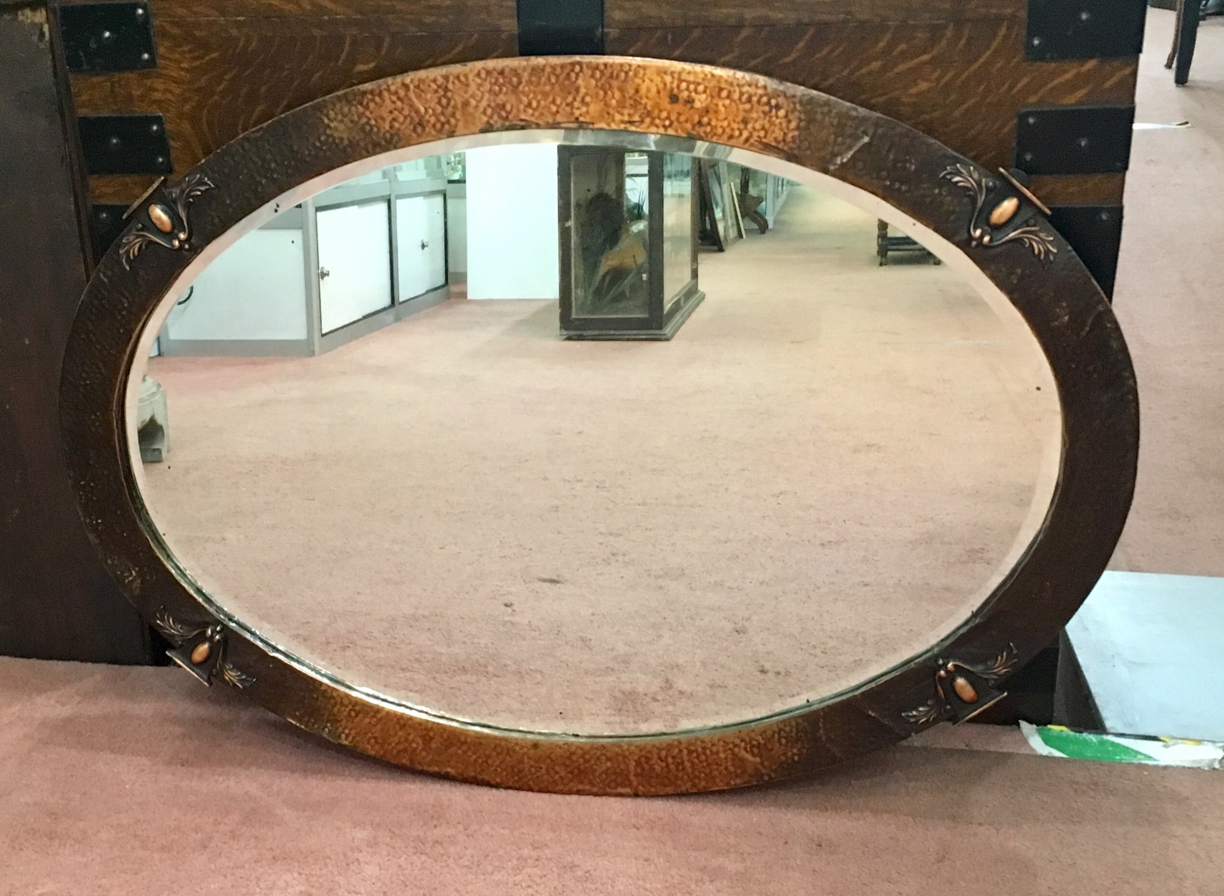 original arts crafts copper overmantle hall mirror c 1900 10