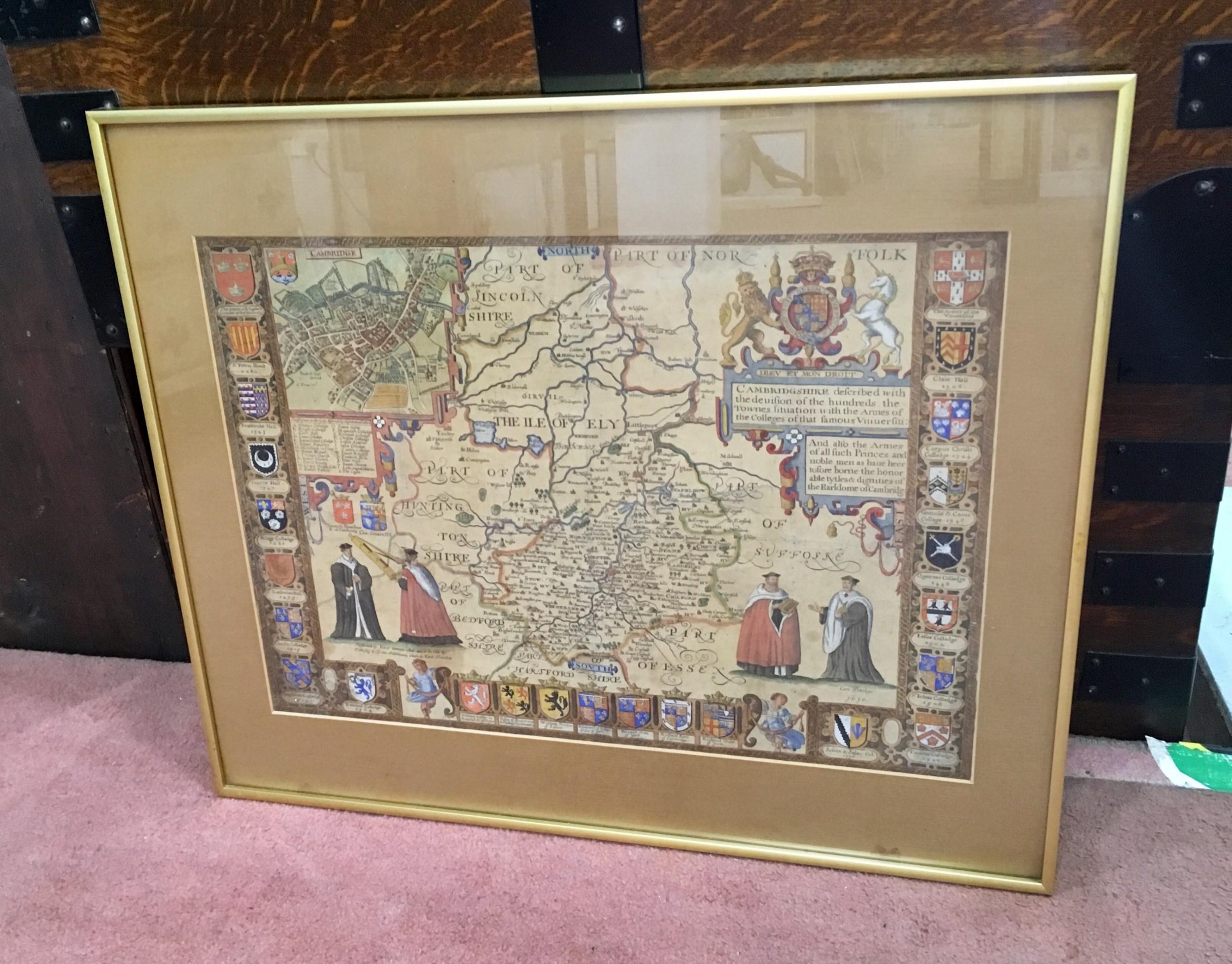 1610 map of cambridge by john speed