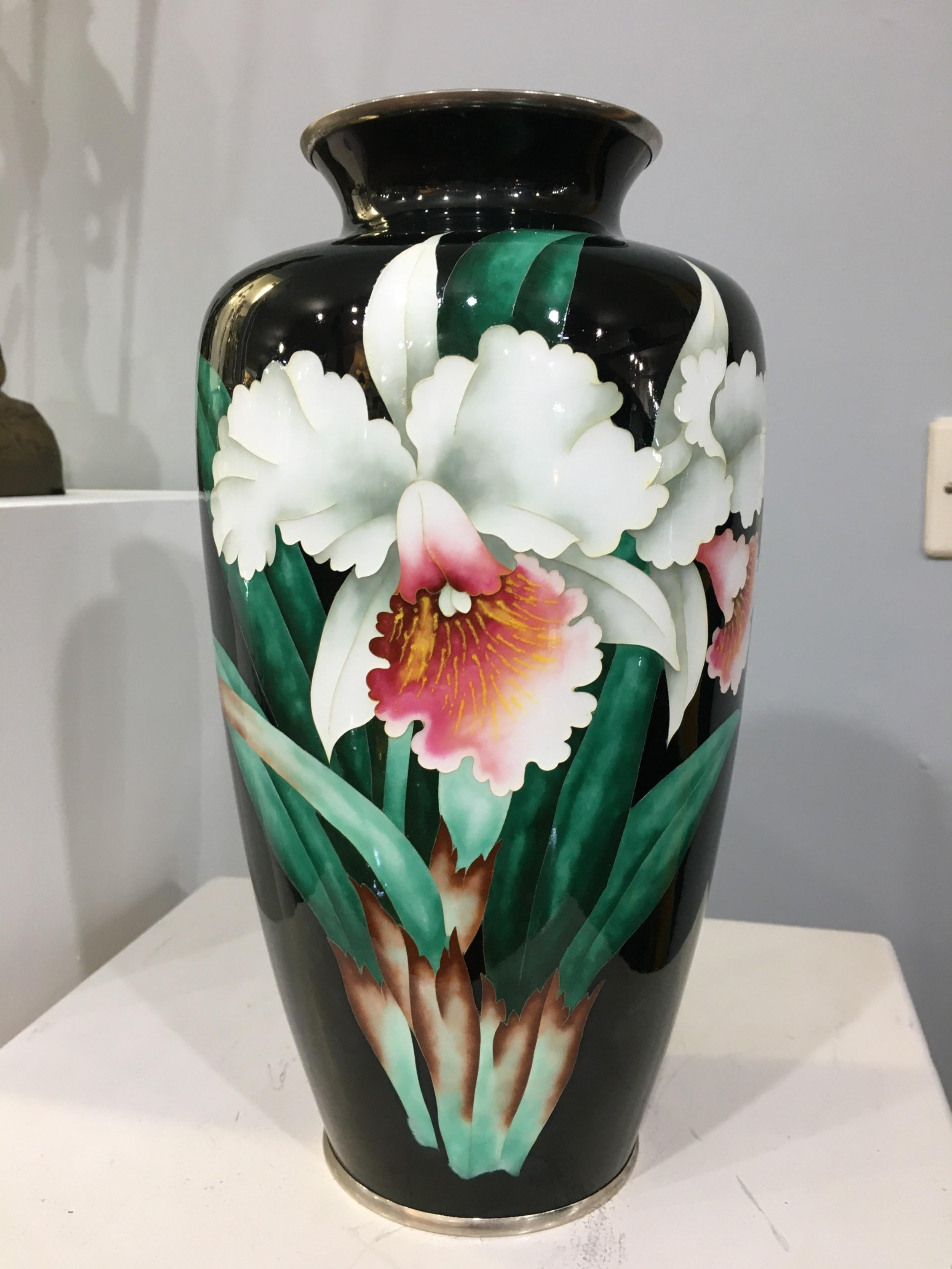 meiji period jinbari enamel vase iris motif c19th