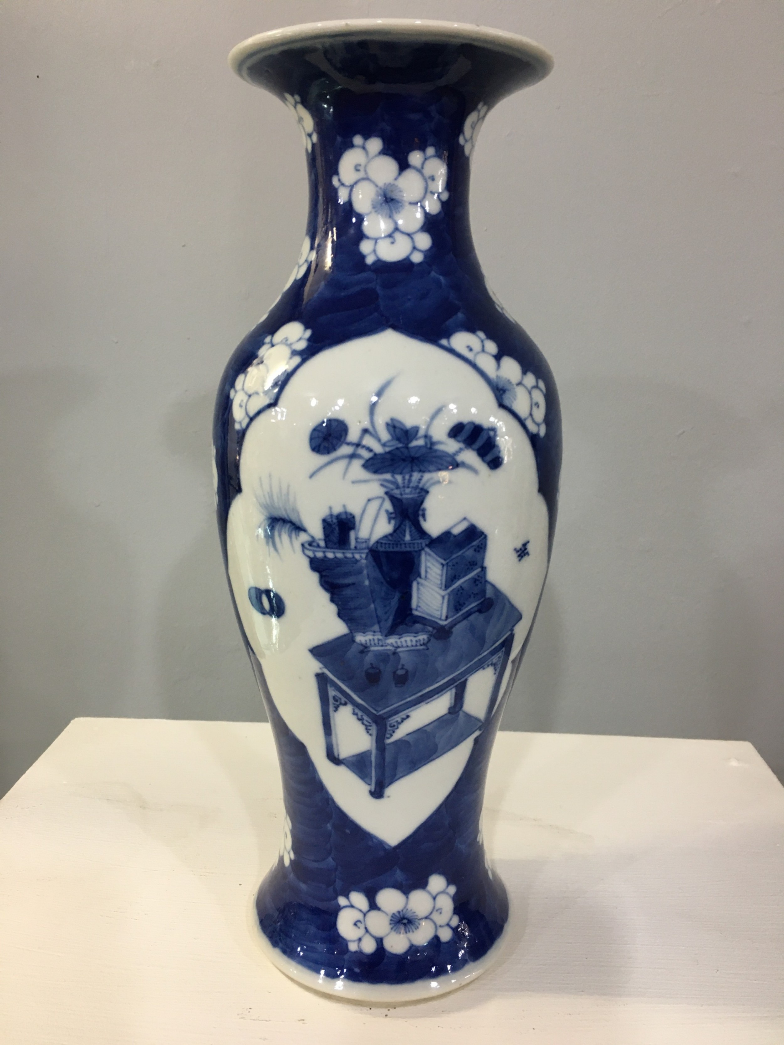 chinese porcelain late quing dynasty prunus pattern handpainted baluster vase c1890