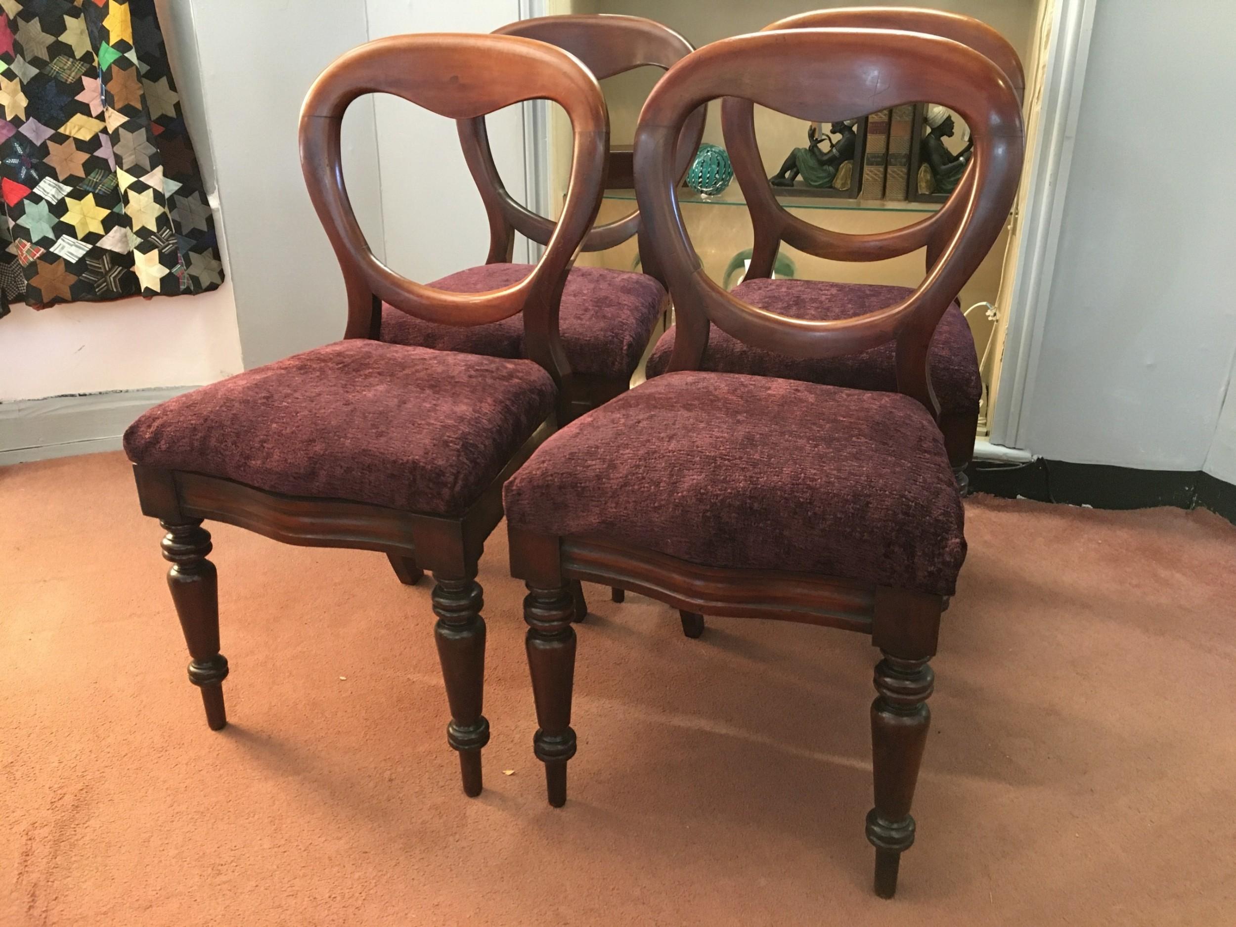 set of 4 victorian balloon back mahogany dining chairs