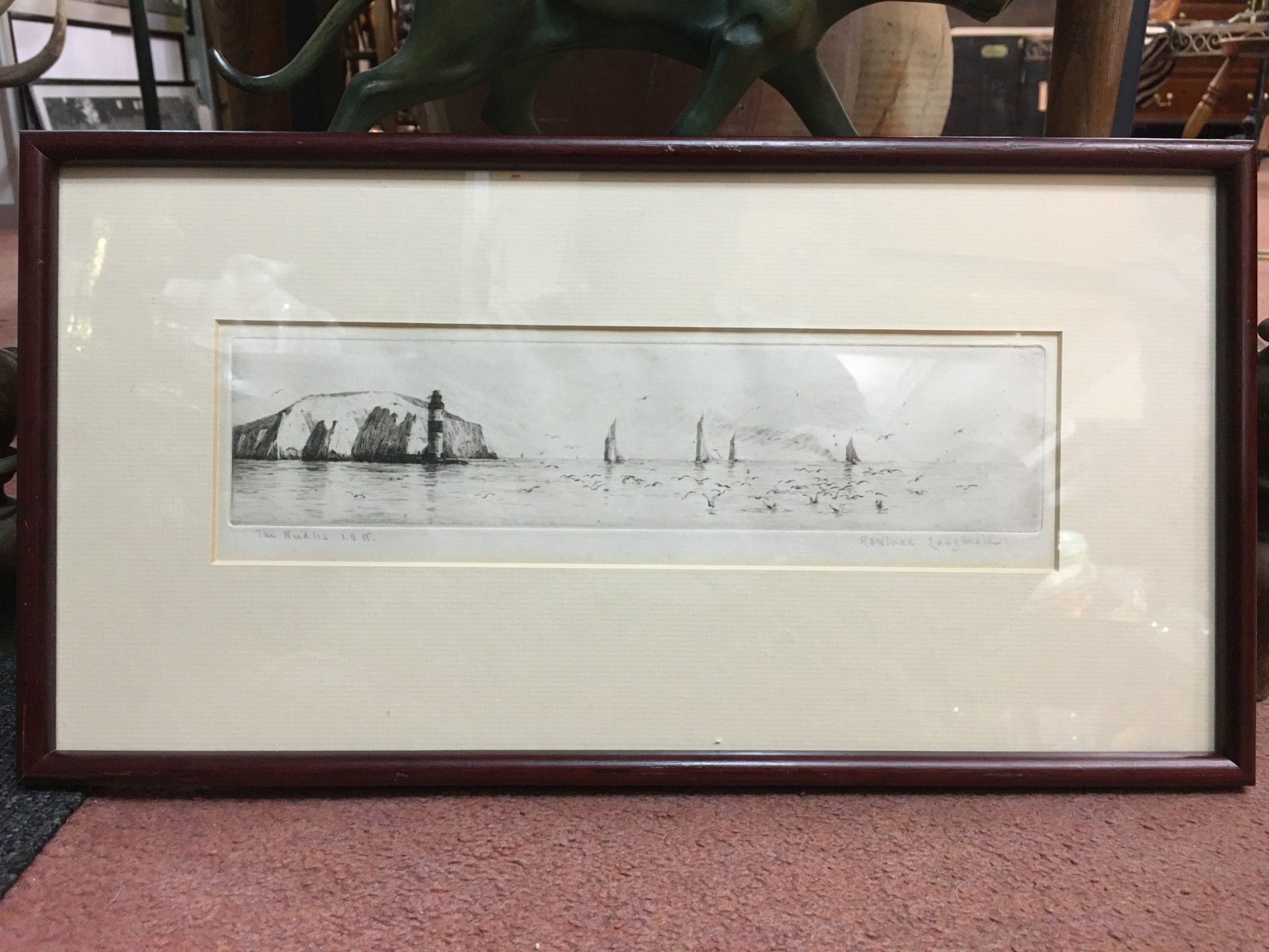rowland langmaid the needles isle of wight drypoint etching limited edition print 100
