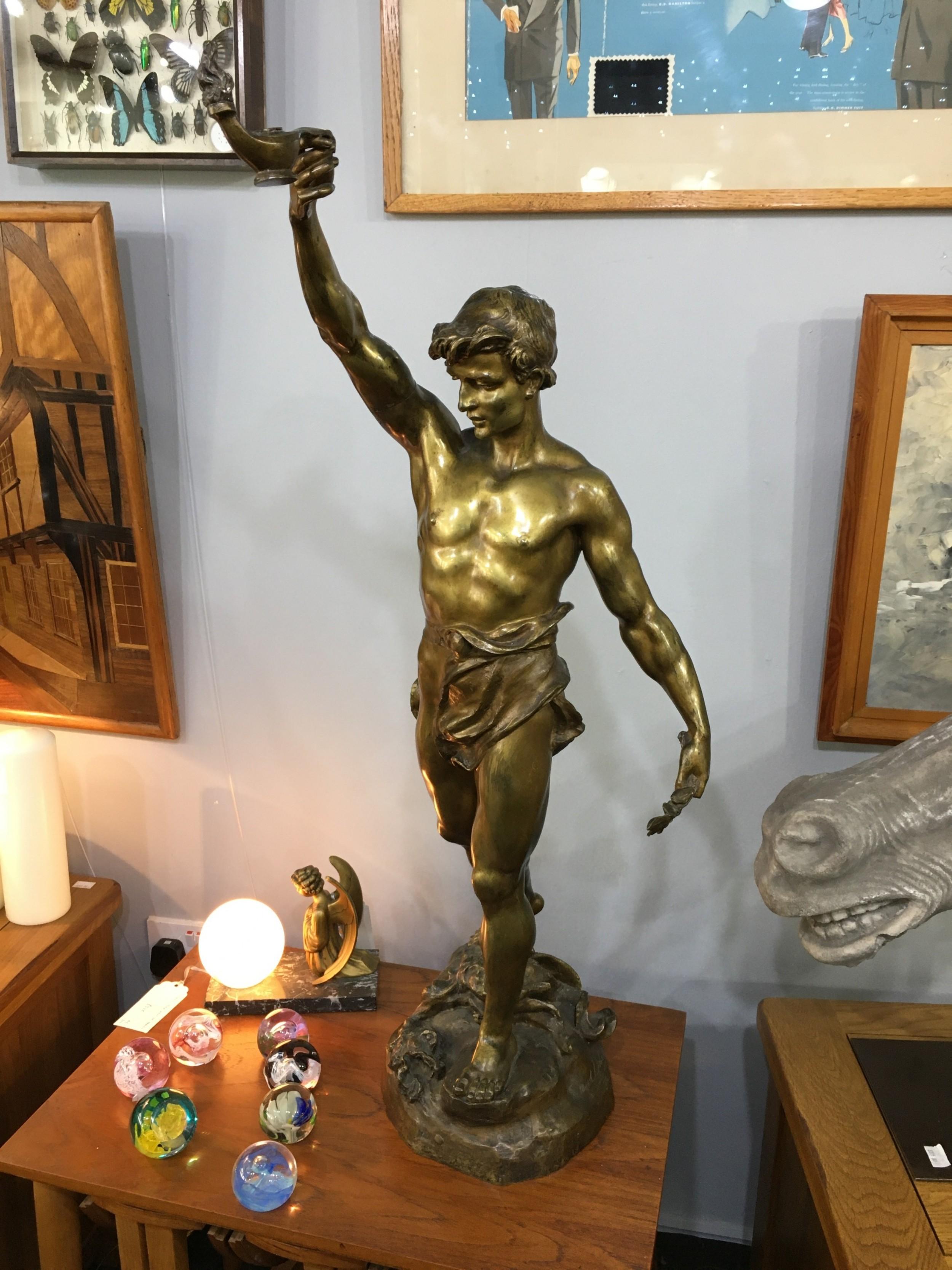 marcel debut 'wisdom' an original cast wax c19th bronze with inscription