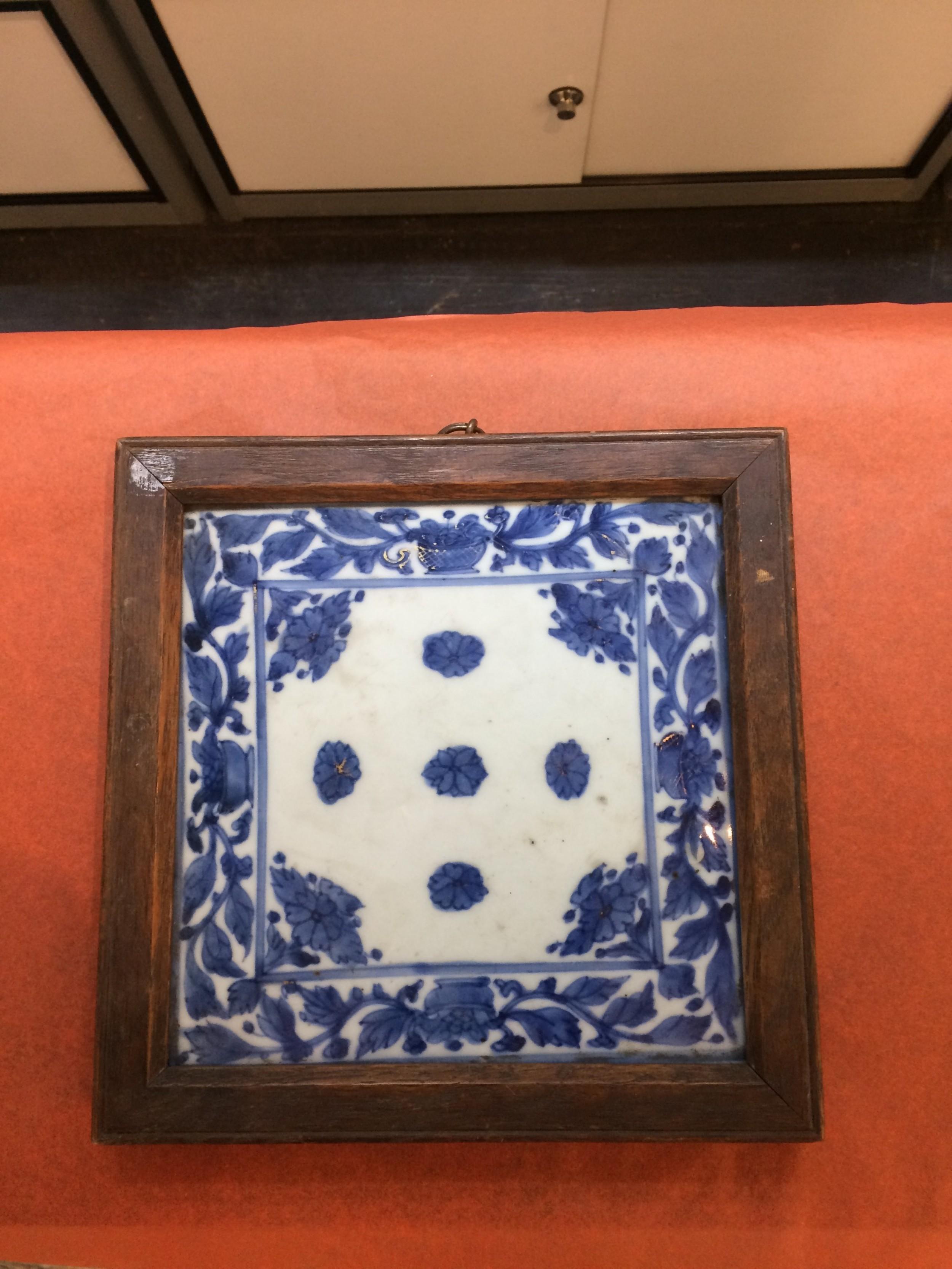 kangxi 16621722 blue and white porcelain plaque