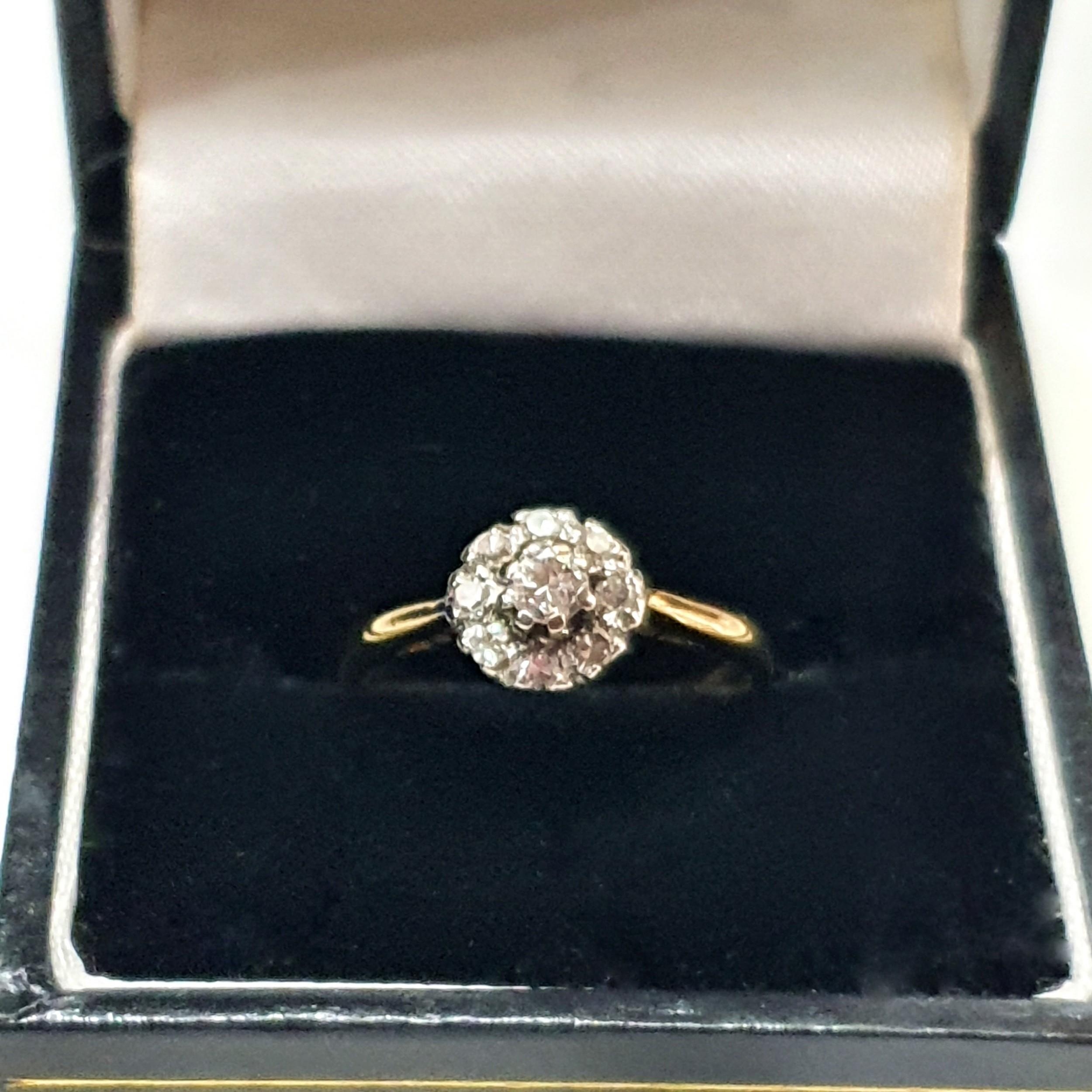 1950s old cut diamond ring 18 carat gold size l