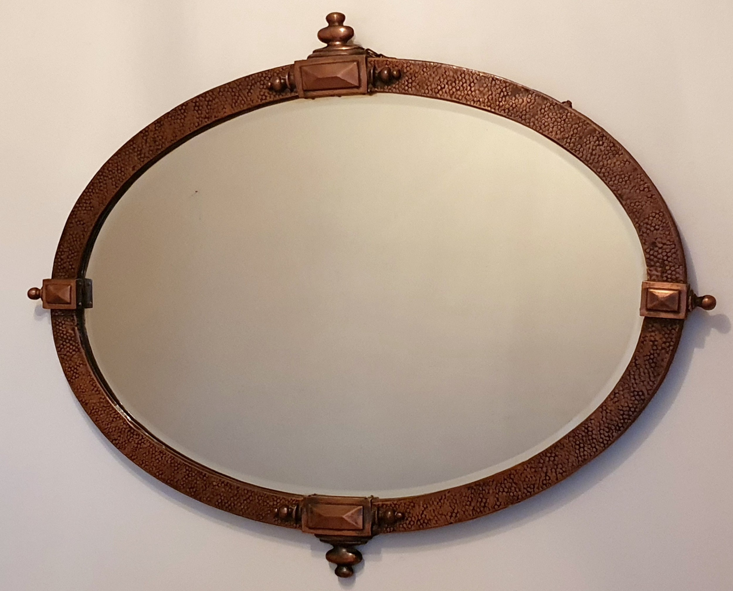 arts crafts hammered copper overmantle mirror with rare detailing original hanging chain c1910