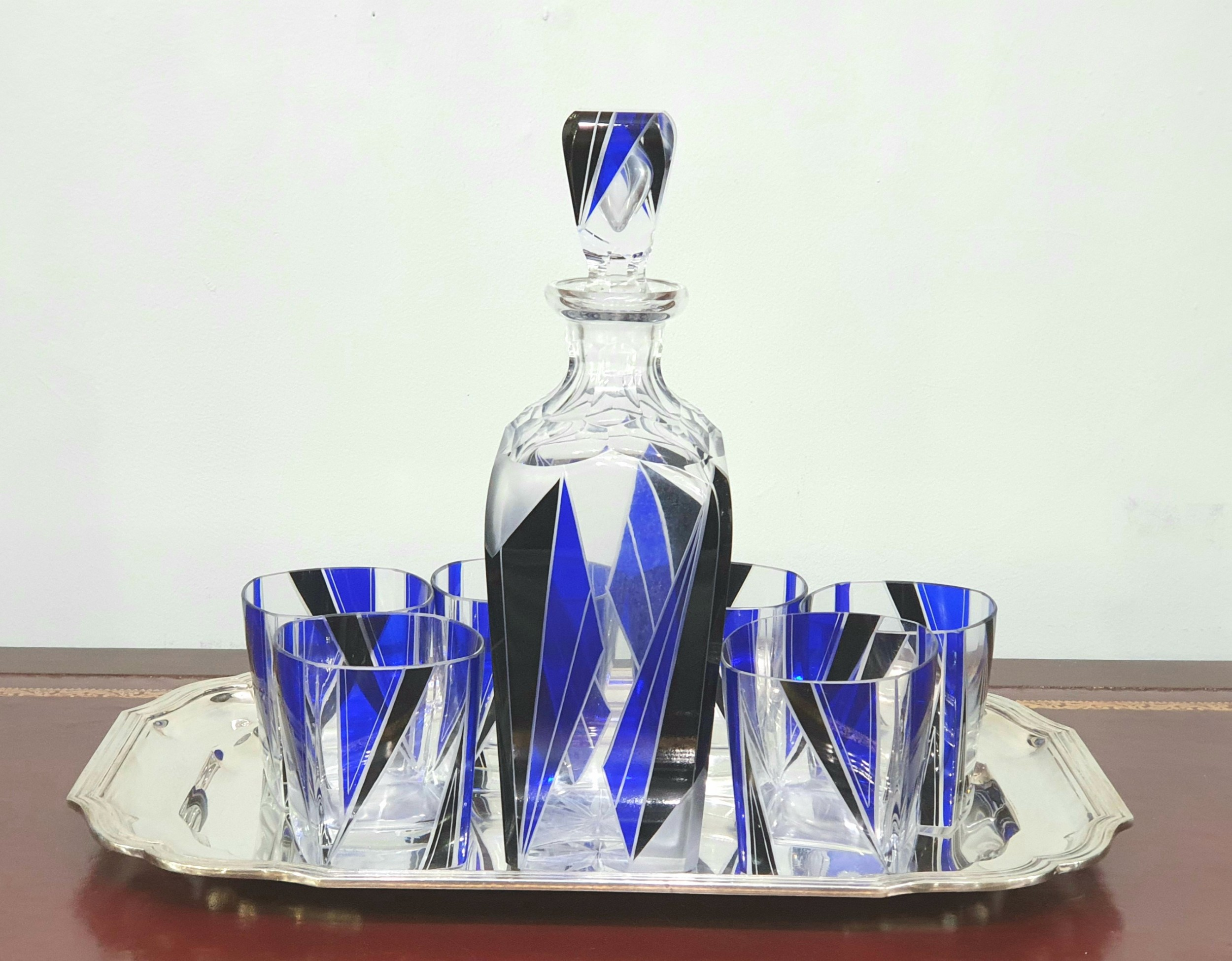 karl palda orginal bohemian art deco decanter set six drinking glasses c1930