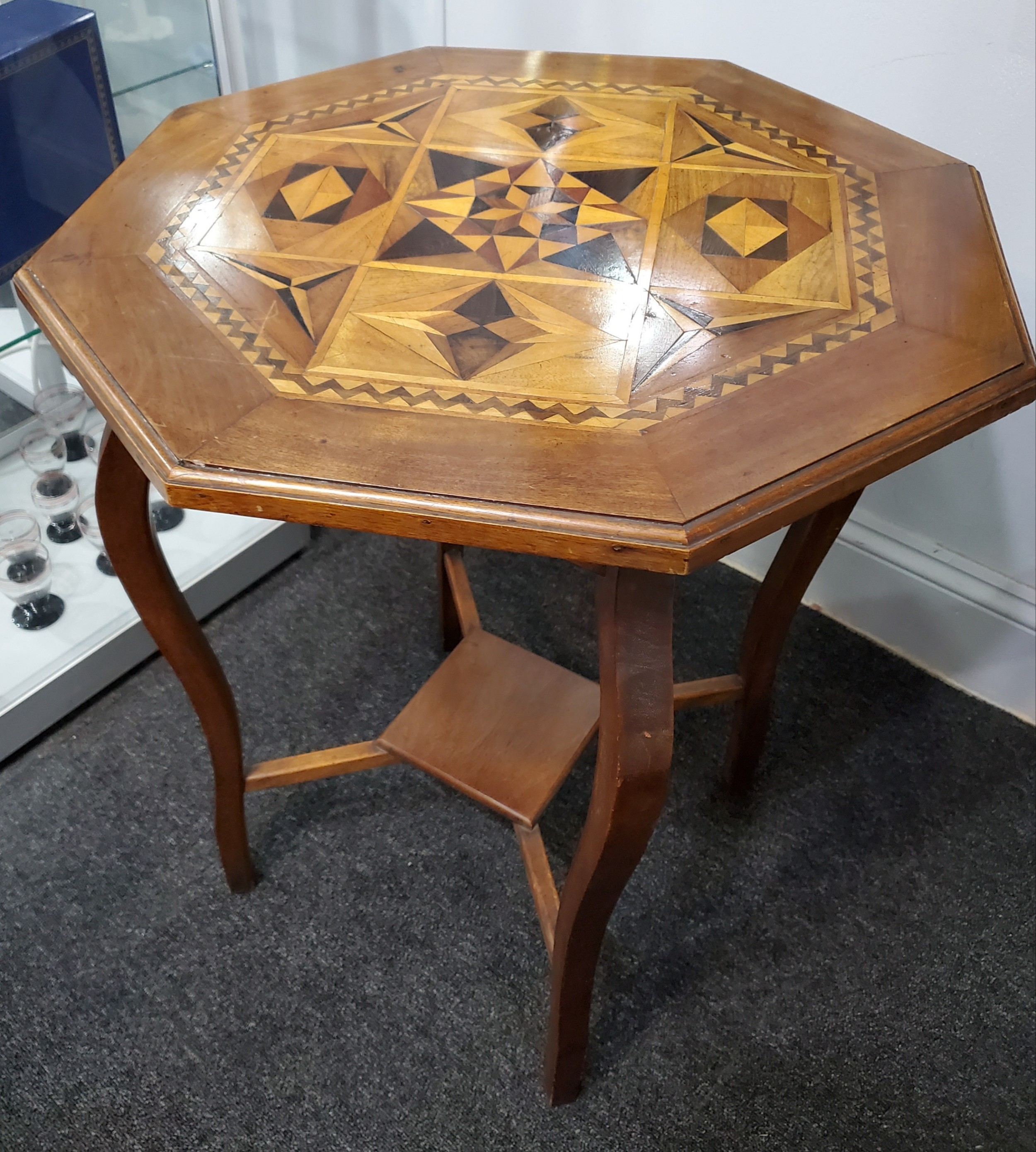victorian parquetry octagonal occasional table c1880