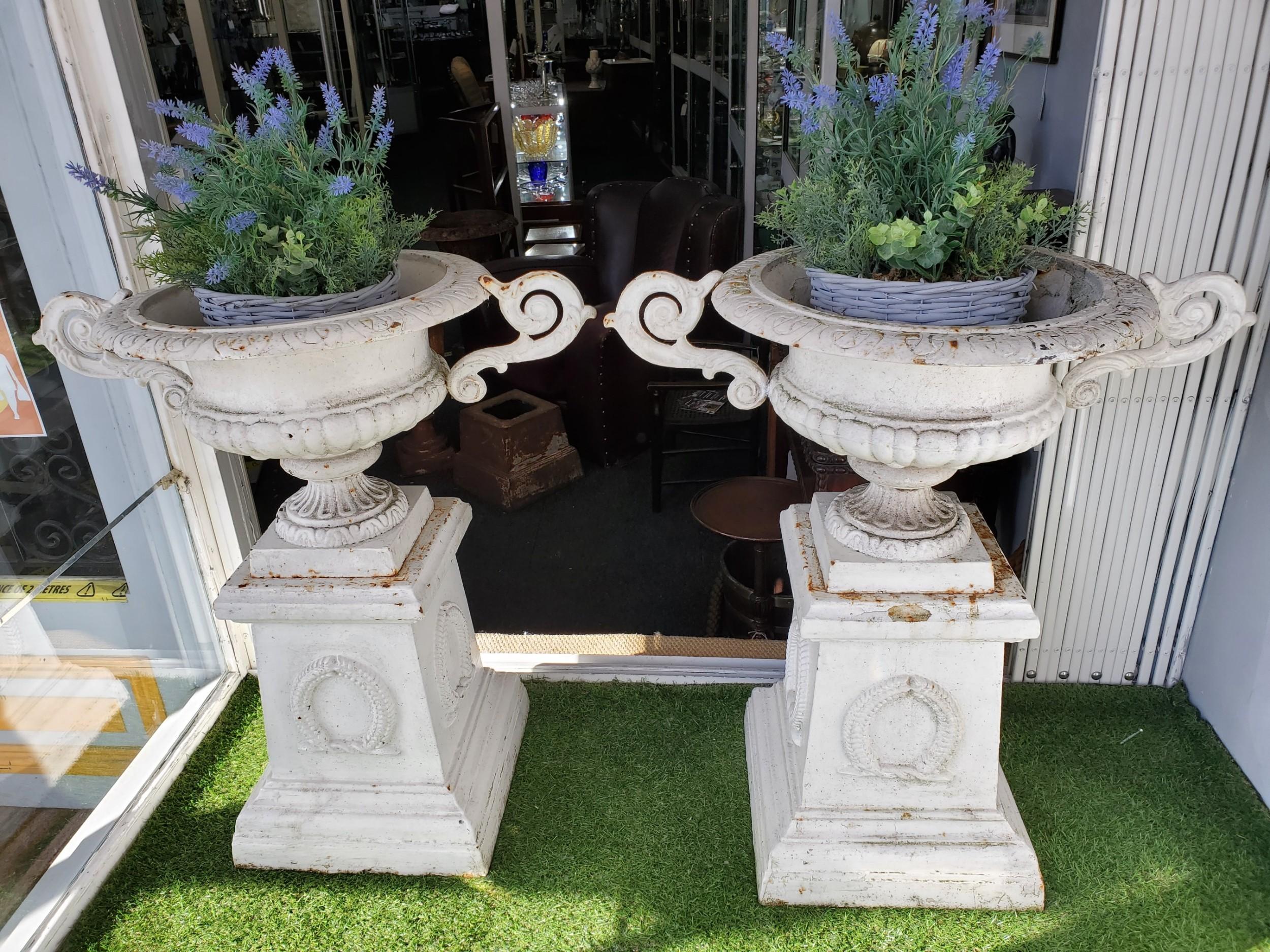 pair of victorian cast iron garden urns c1860
