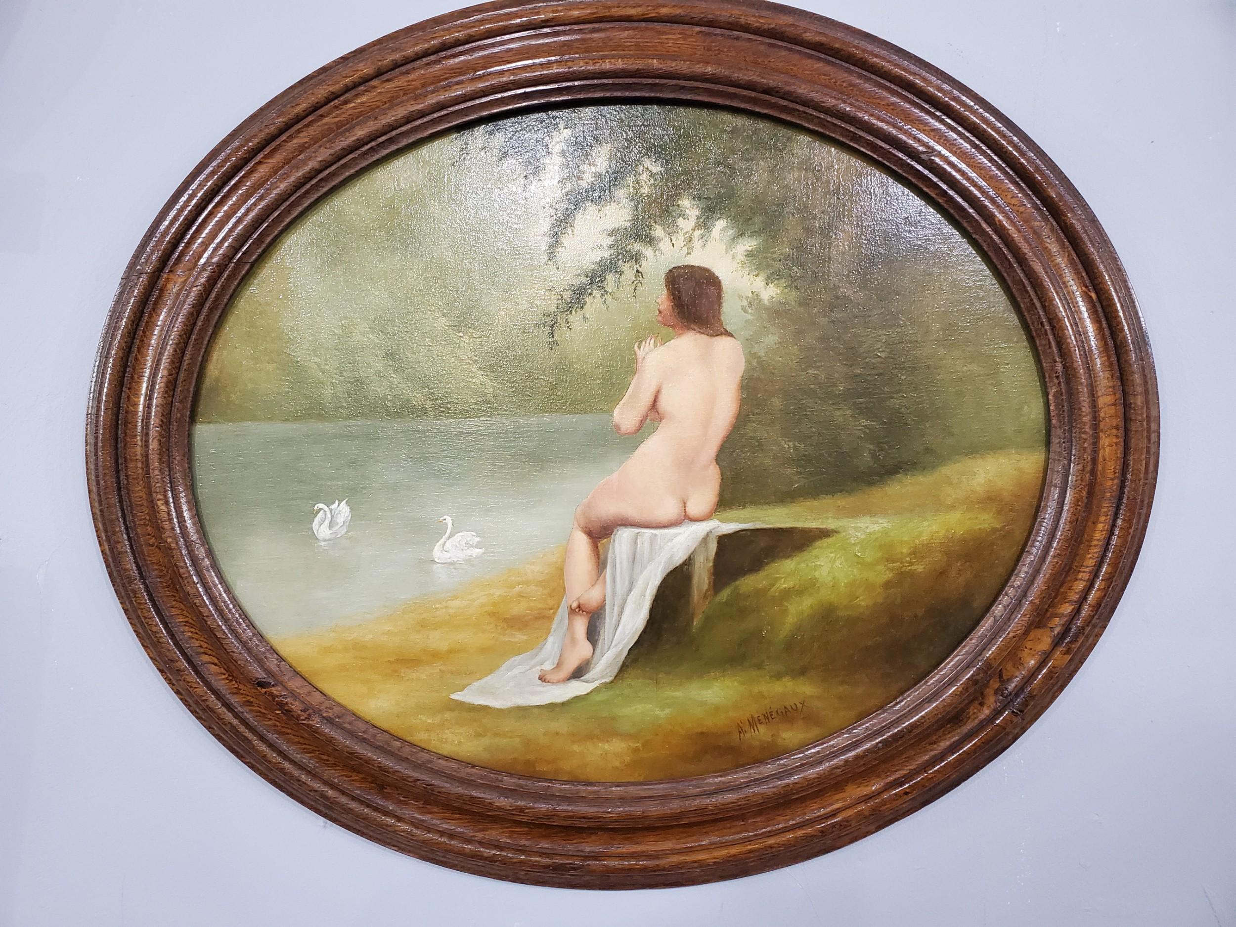 mngaux french art nouveau oil on board c1900
