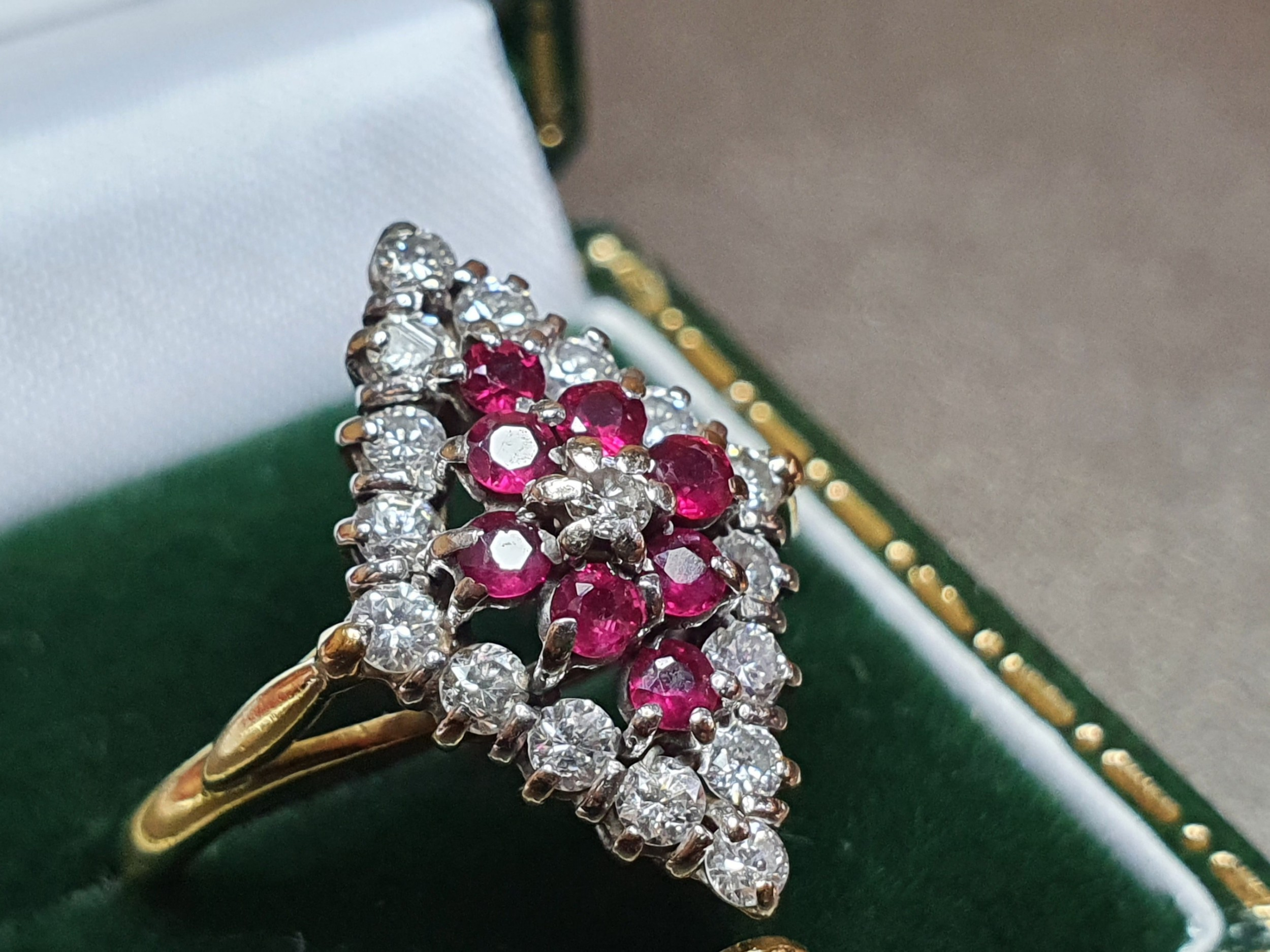 edwardian 18ct gold ruby diamond marquise cluster ring n12