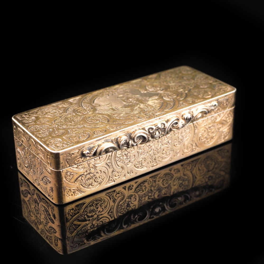 antique french hand engraved silver gilt snuff box c18th century