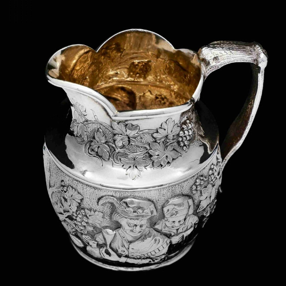 antique victorian solid silver milk jugpitcher with figural tavern scene thomas smily 1876