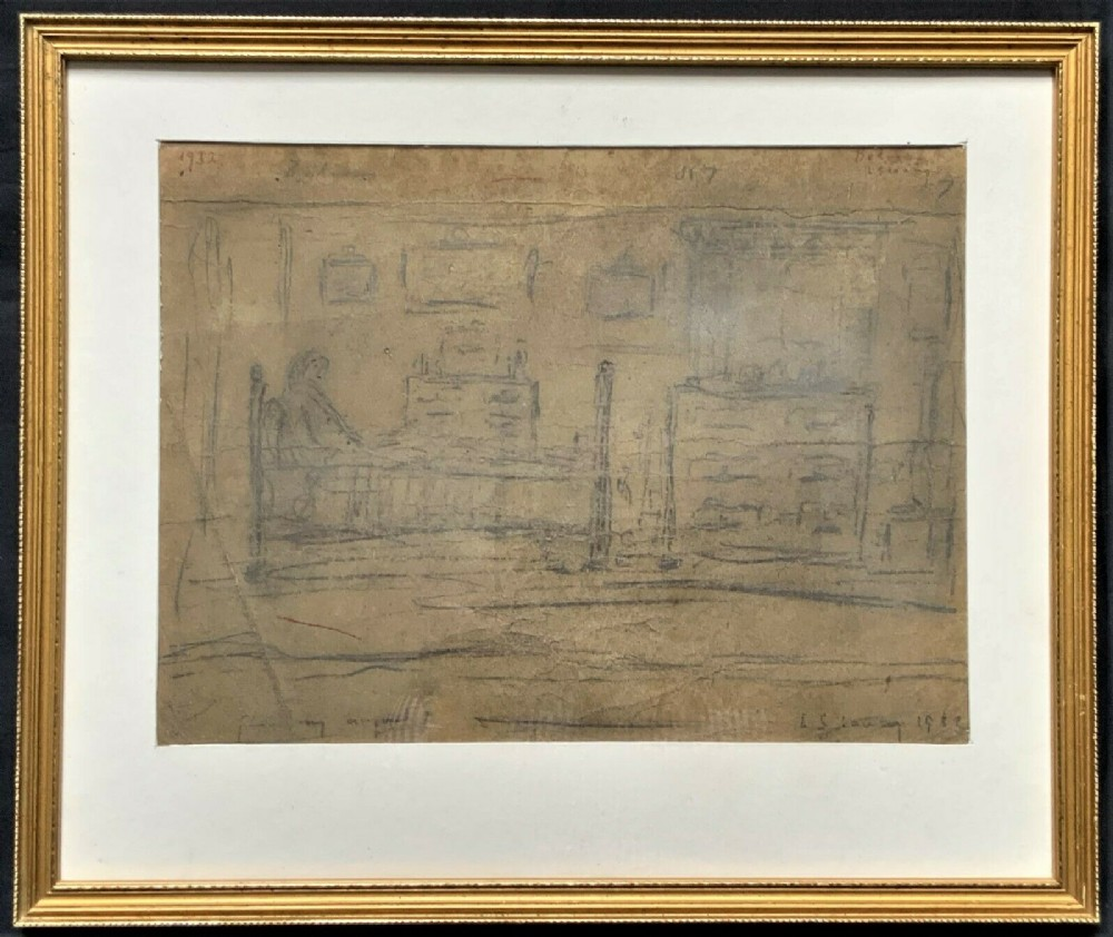 attrib l s lowry 18871976 original 1932 pencil sketch bedroom pendlebury