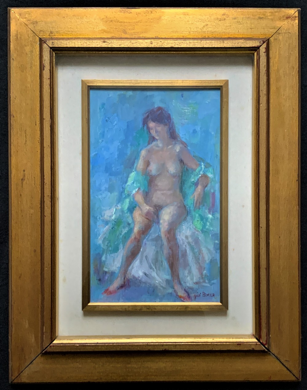original vintage antique impressionist erotica nude oil portrait painting