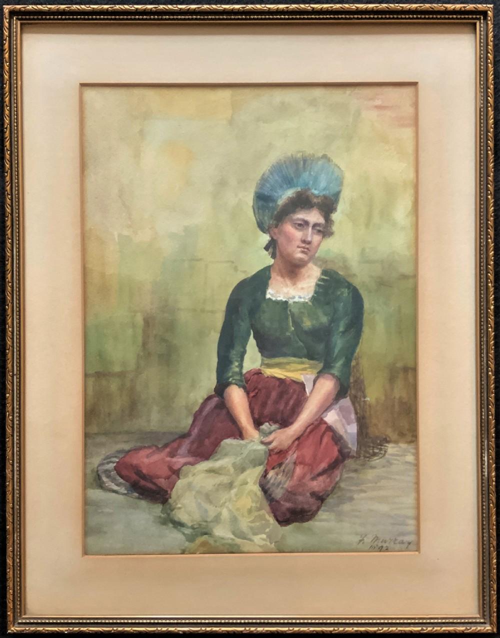 'f murray' scottish stunning quality late 19thc portrait watercolour painting