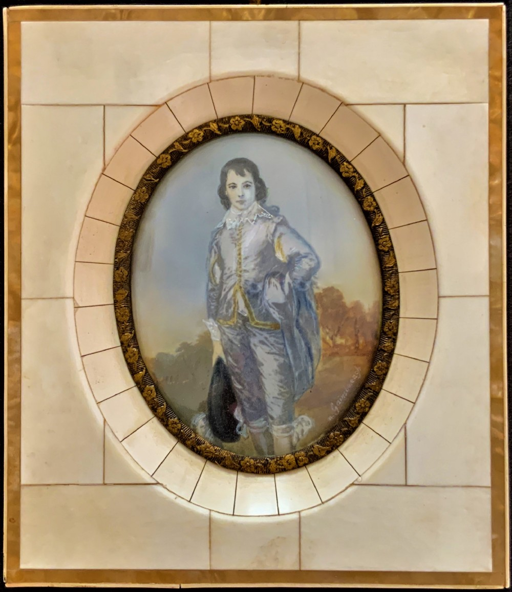 superb miniature portrait oil painting after thomas gainsborough ra 17271788