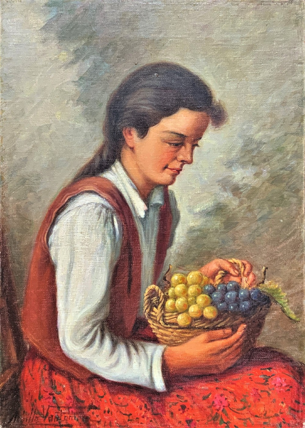 'the fruit seller' attractive original early 1900s italian oil portrait painting