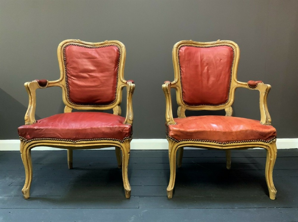 original pair 19thc shabby chic french leather upholstered giltwood armchairs