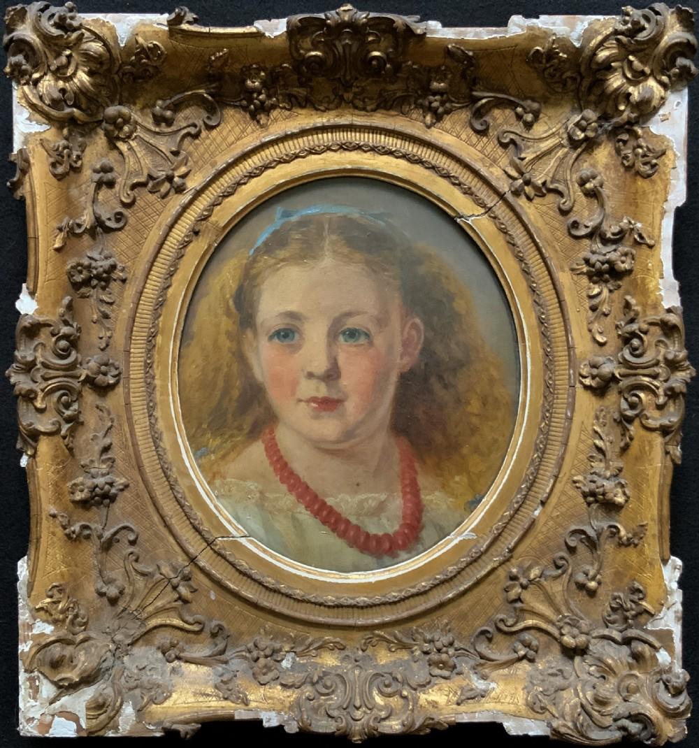 fine original 19thc circular oil portrait painting of a child for reframingtlc