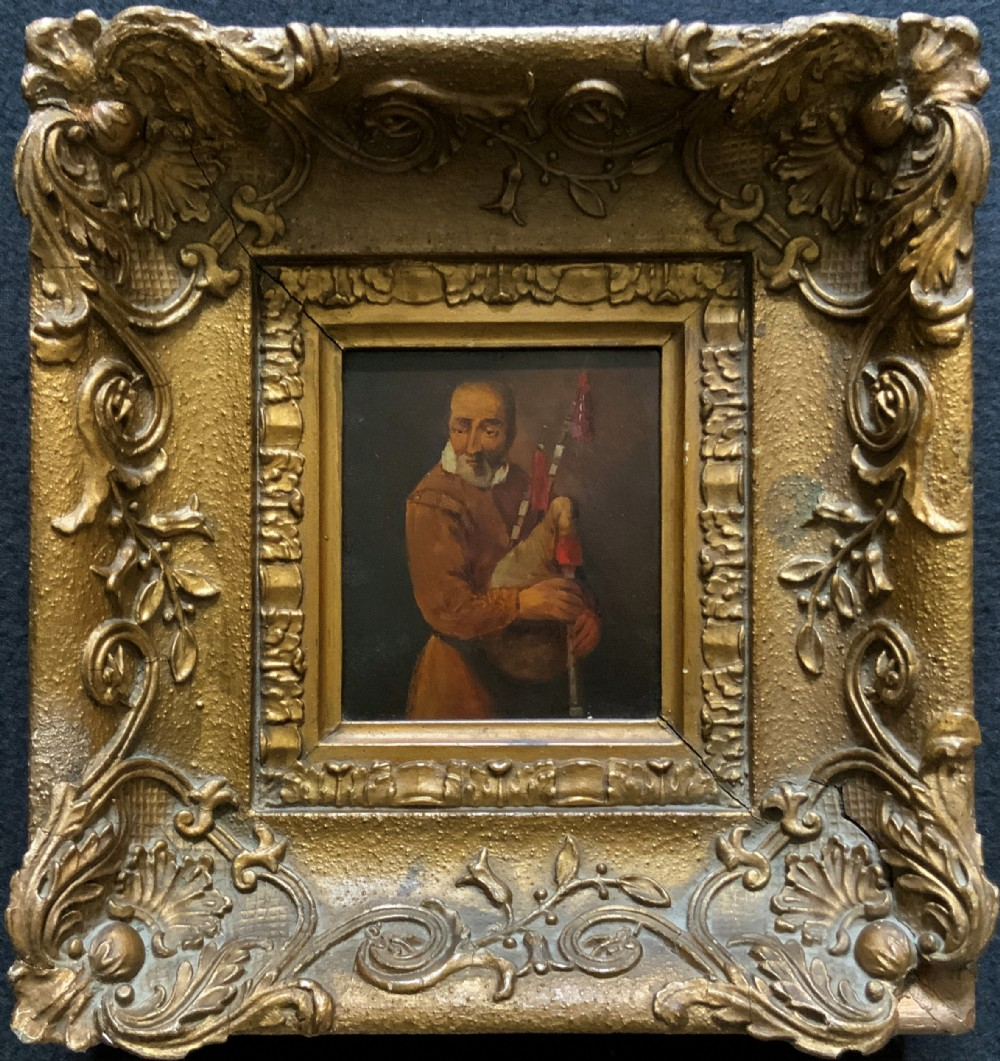 original 18thc miniature oil on panel portrait painting of a bagpipe player