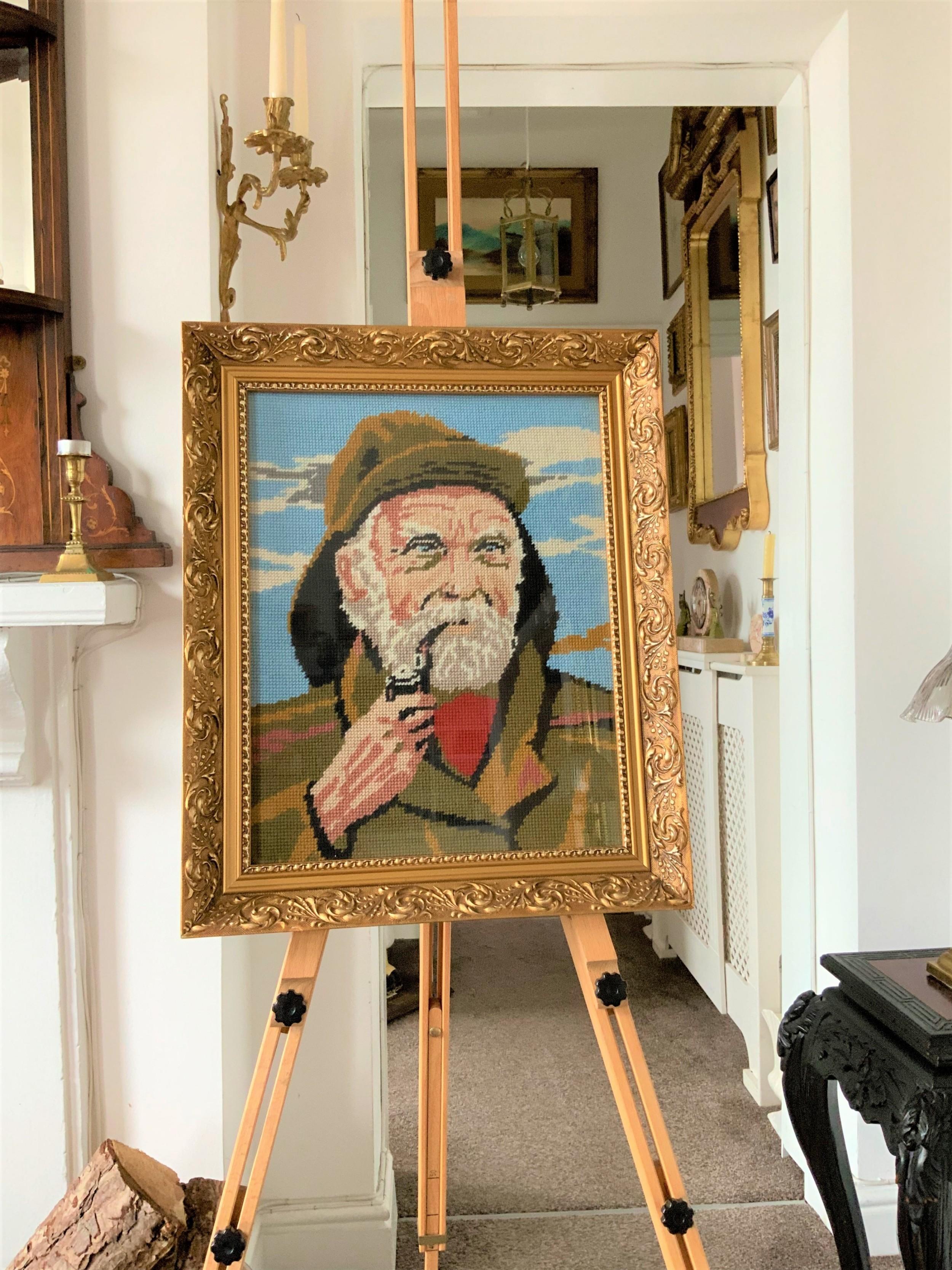 exhibition condition vintage gilt framed tapestry cornish fisherman portrait