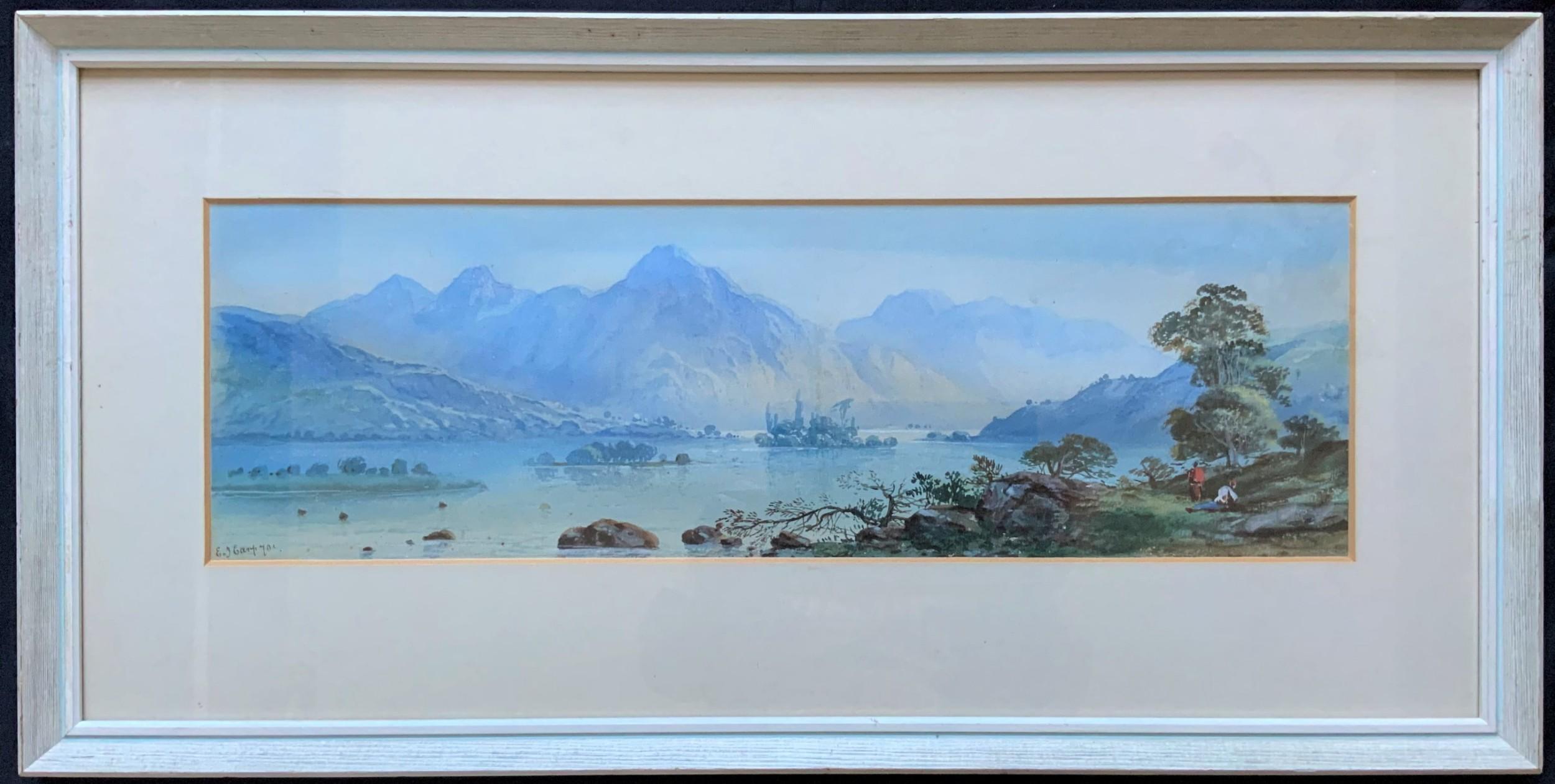 edwin earp 18511945 lovely 19thc scottish loch landscape watercolour painting