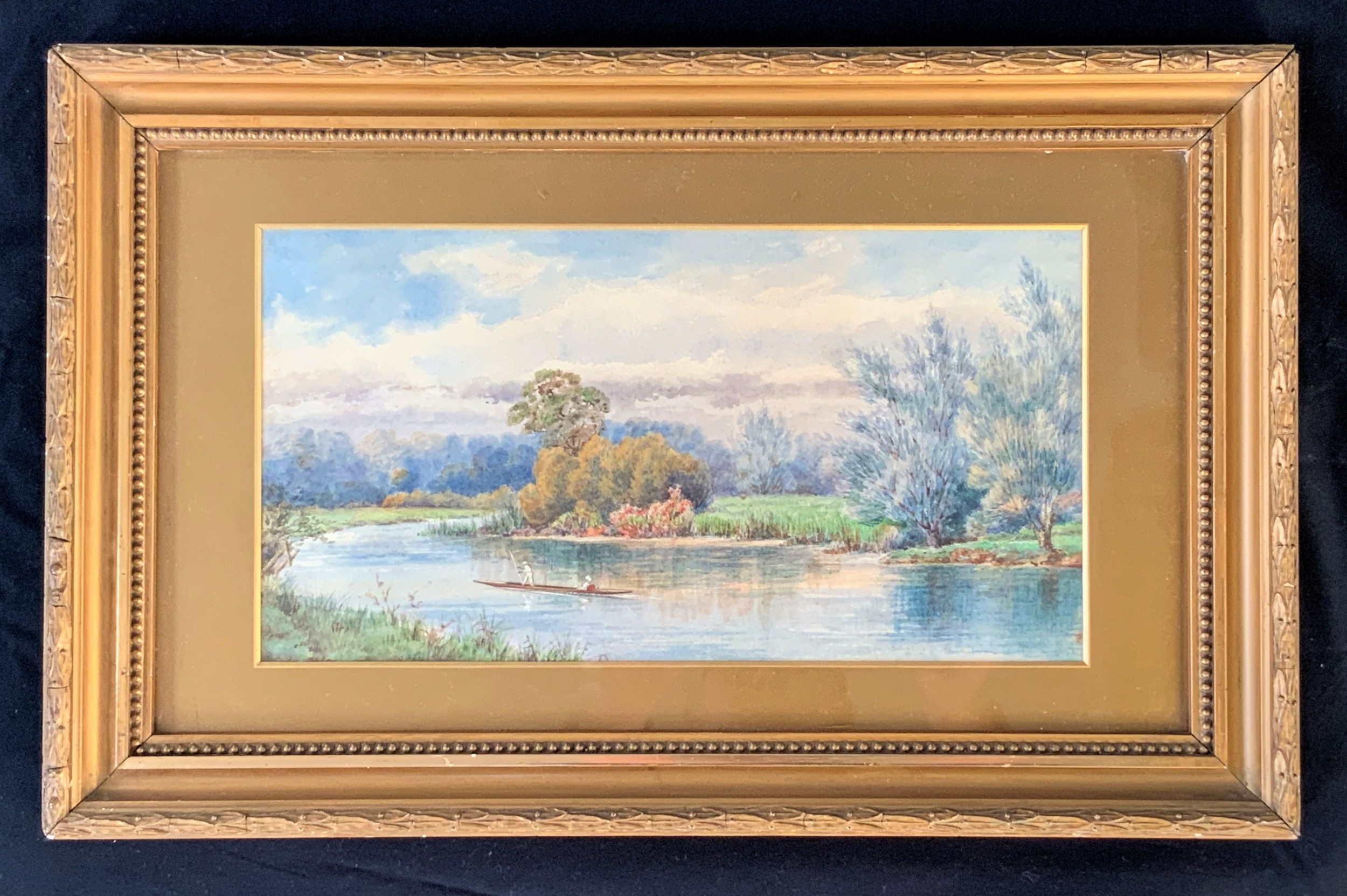 'punting on the colne' early 1900s english river landscape watercolour painting