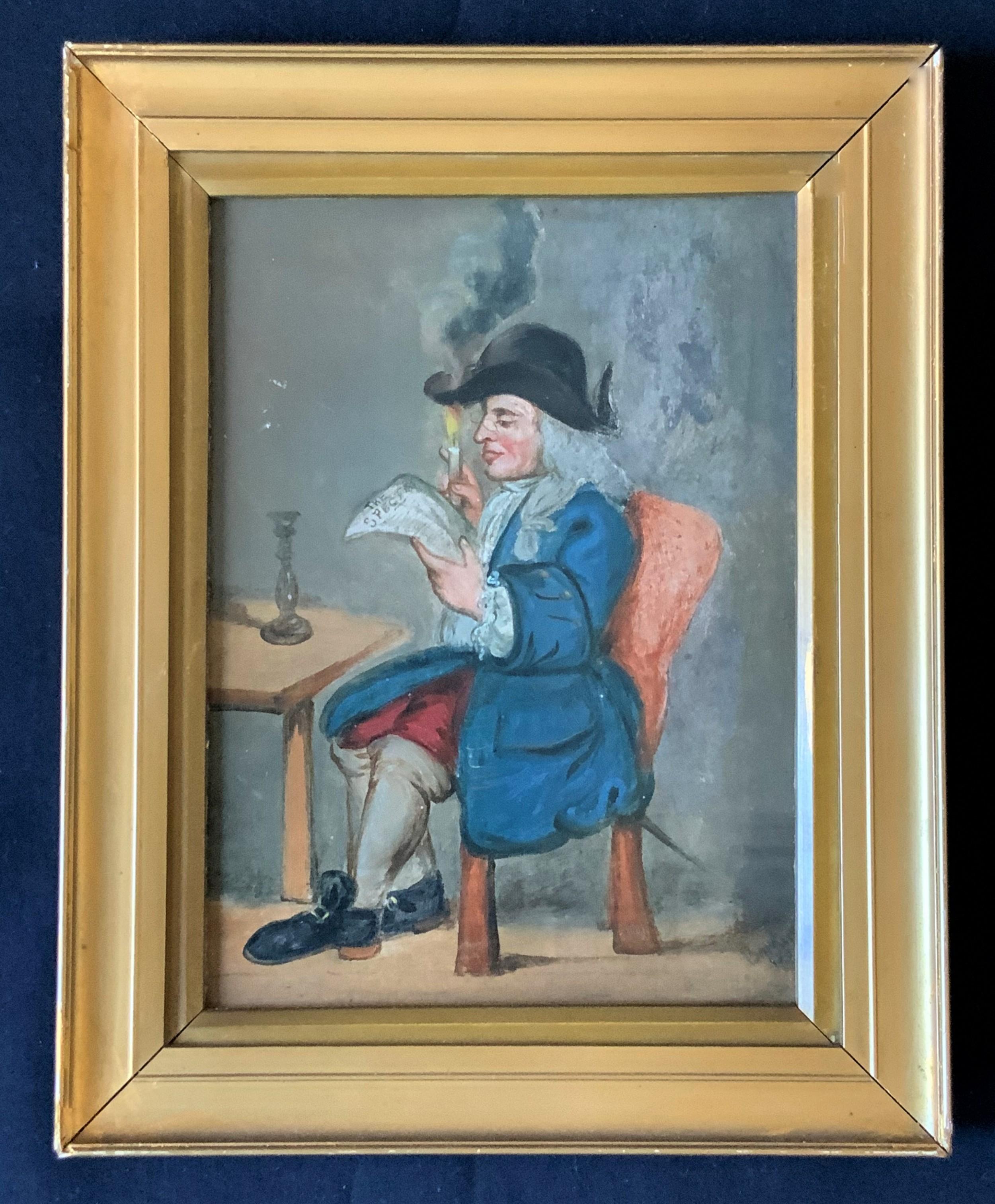 edwardian antique oil portrait on panel of a reading georgian gentleman