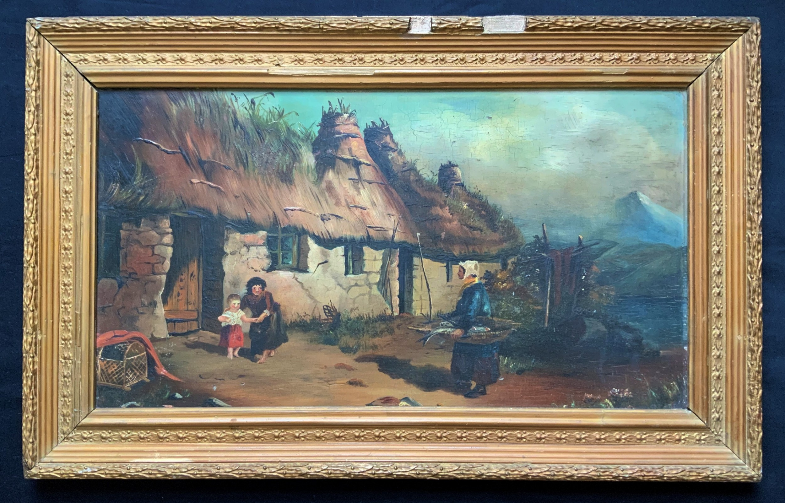 19thc scottish oil painting thatched glen cottage loch mountain and fisherlady