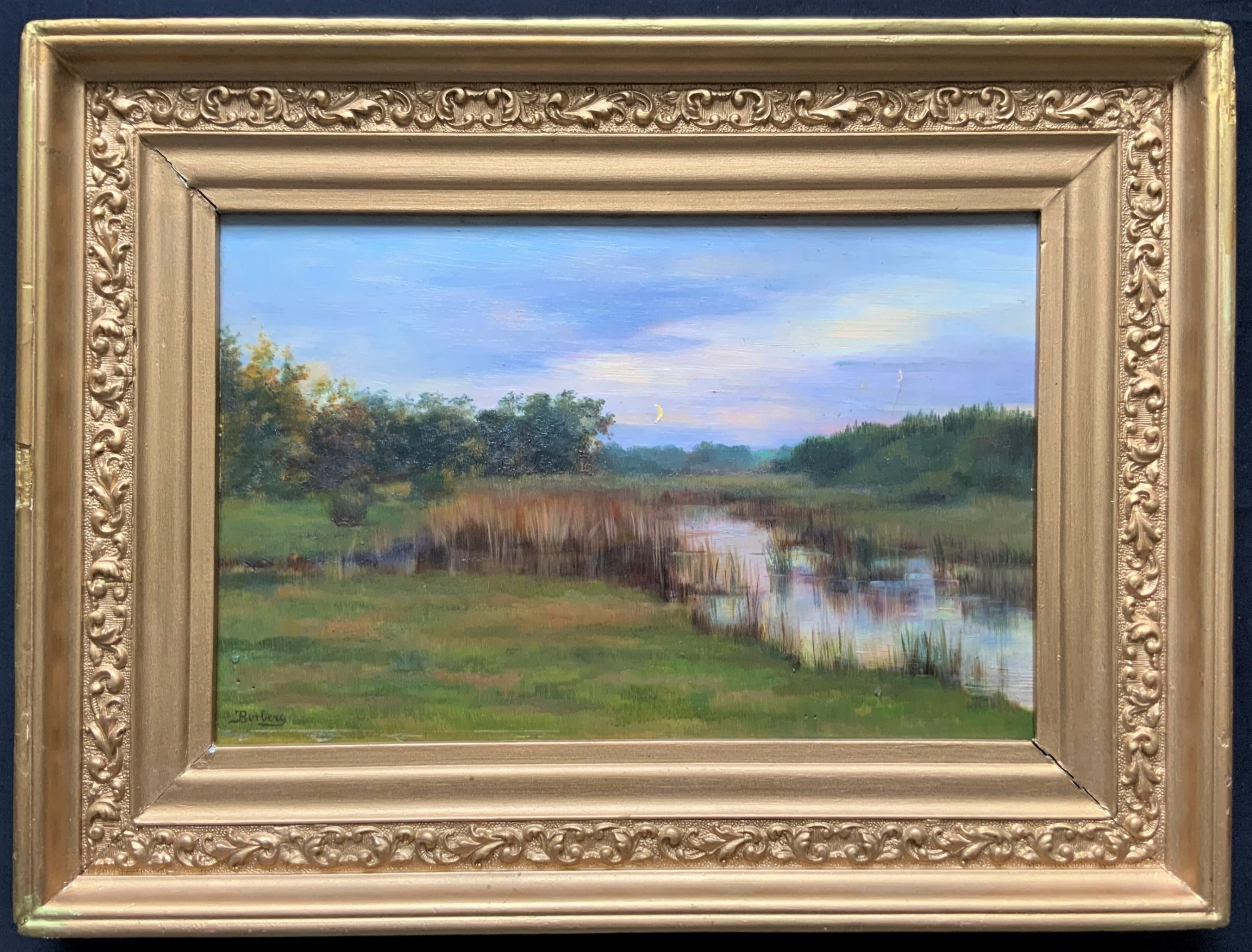 lovely small mid 20th century antique rivescape oil painting signed french