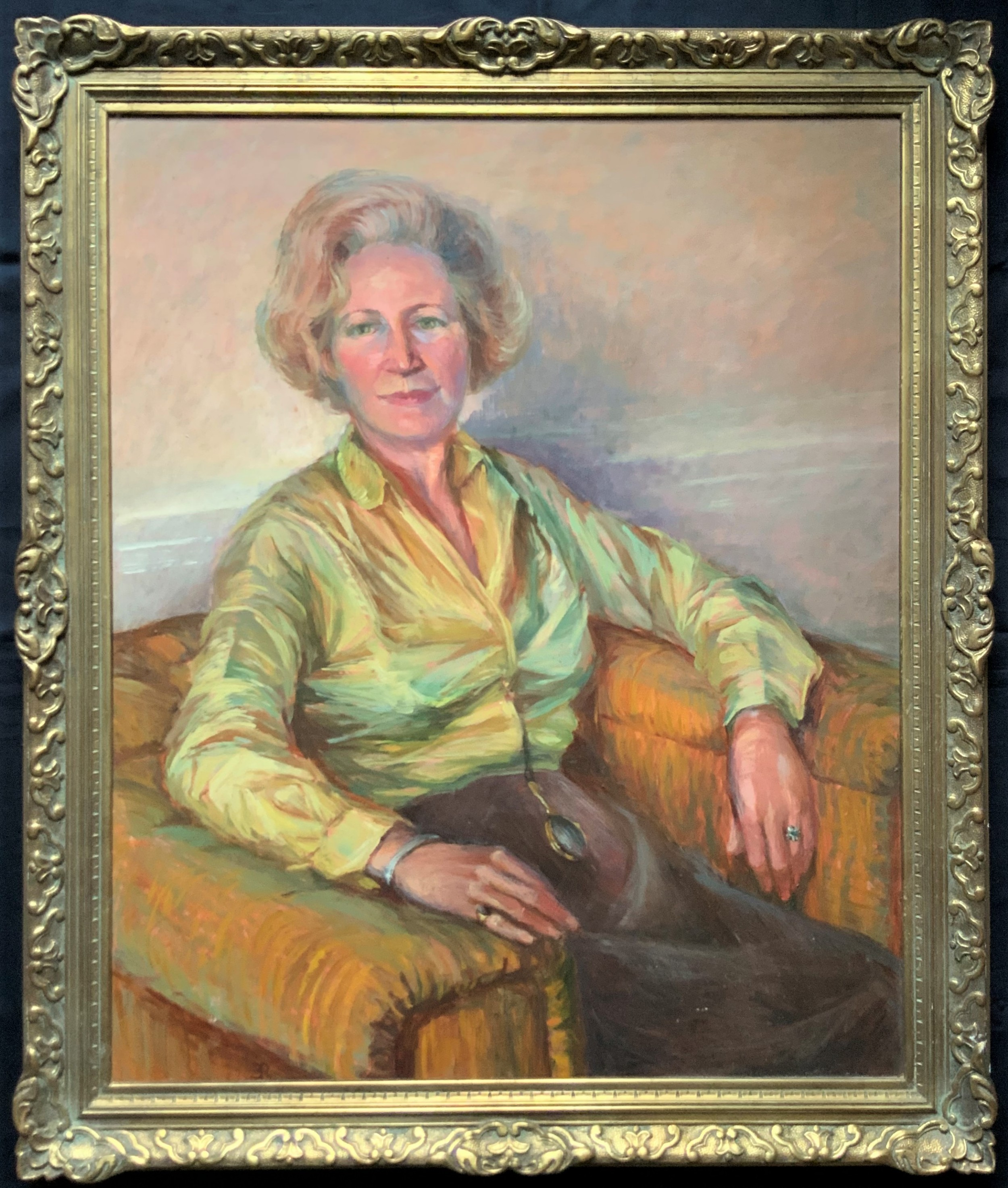 stunning 'very large' original 20thc vintage impressionist oil portrait painting