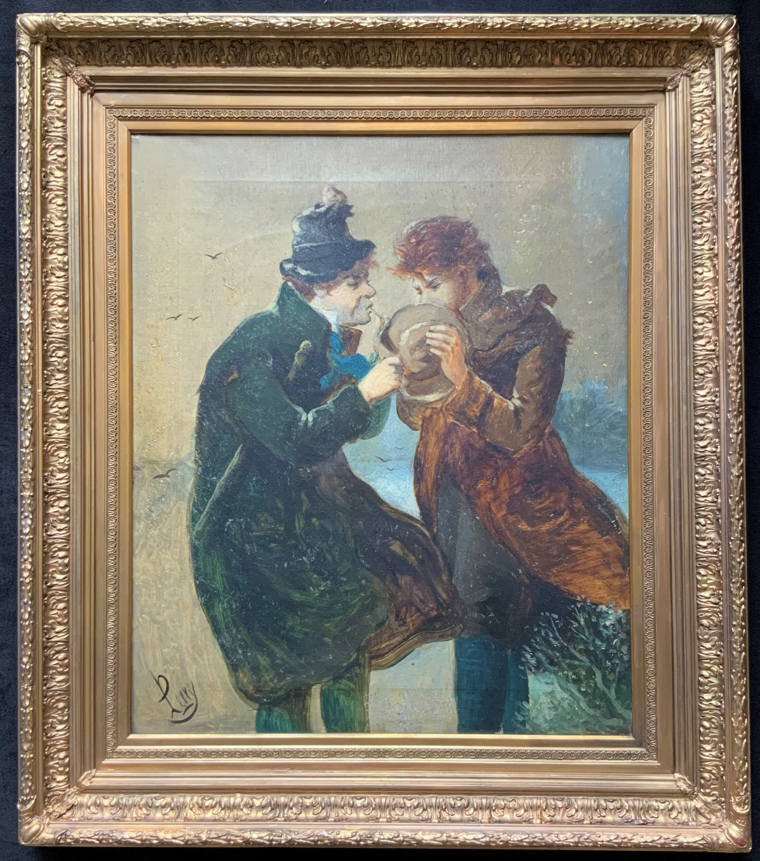 incredible vlarge original 19thc impressionist oil ''a difficult job'' b perry'