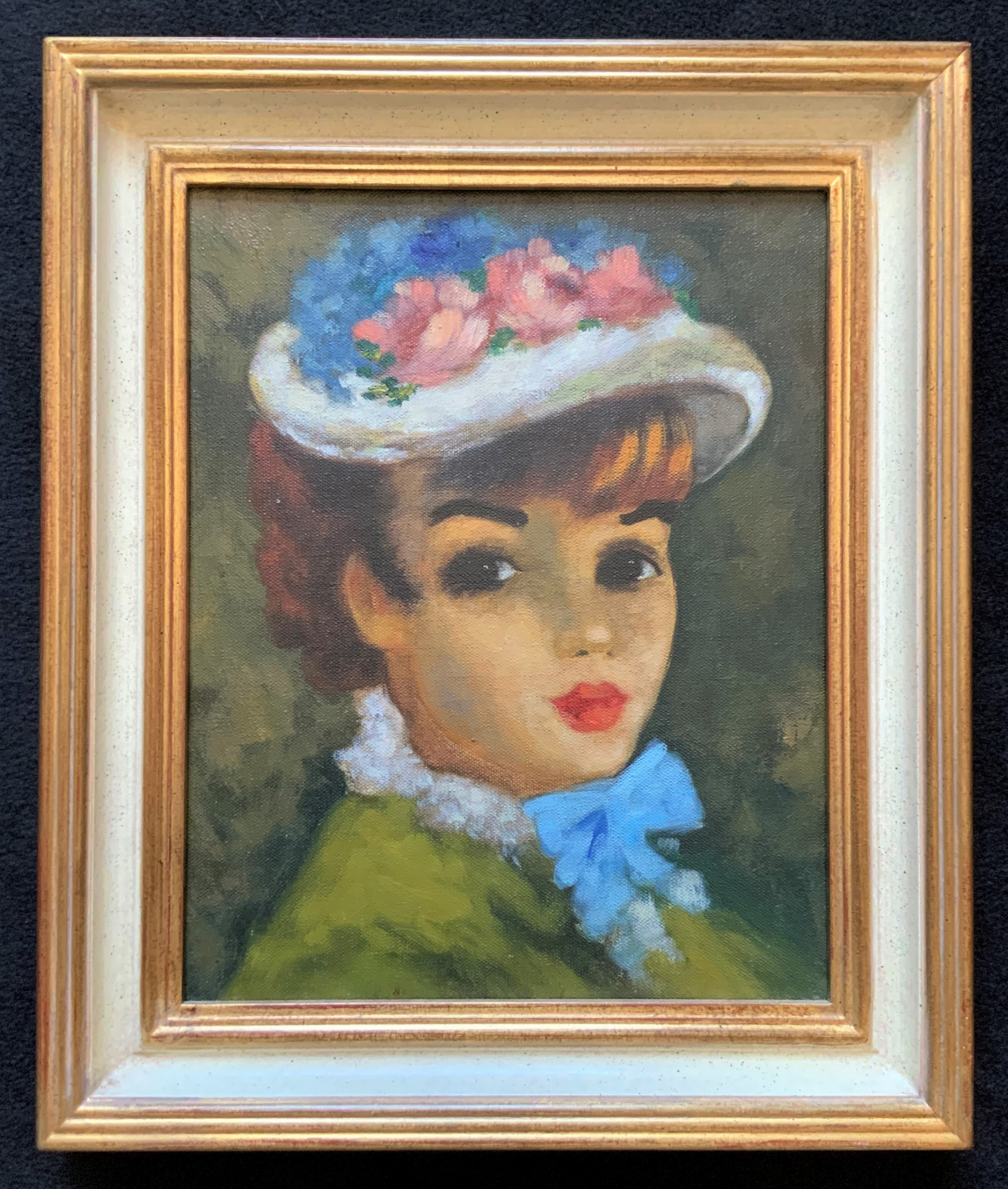 original oil on canvas portrait painting of a pretty young girl mid 20thc