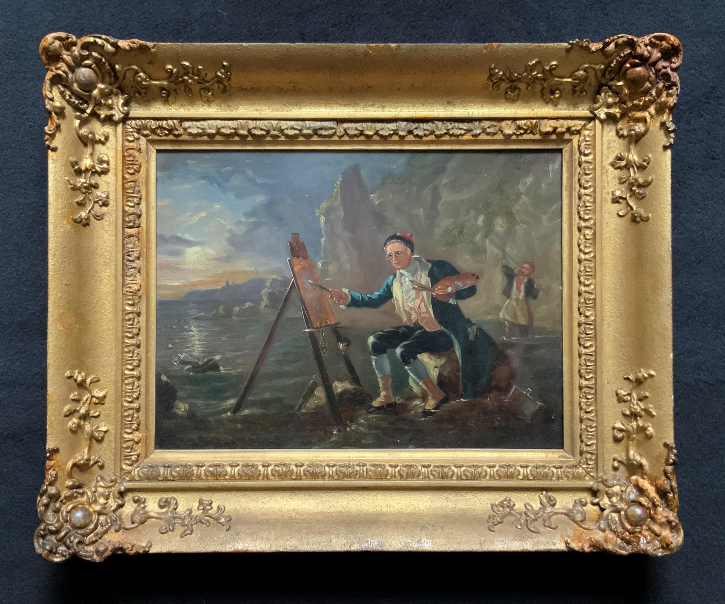 late 18thc british school original oil portrait painting of a shoreline artist