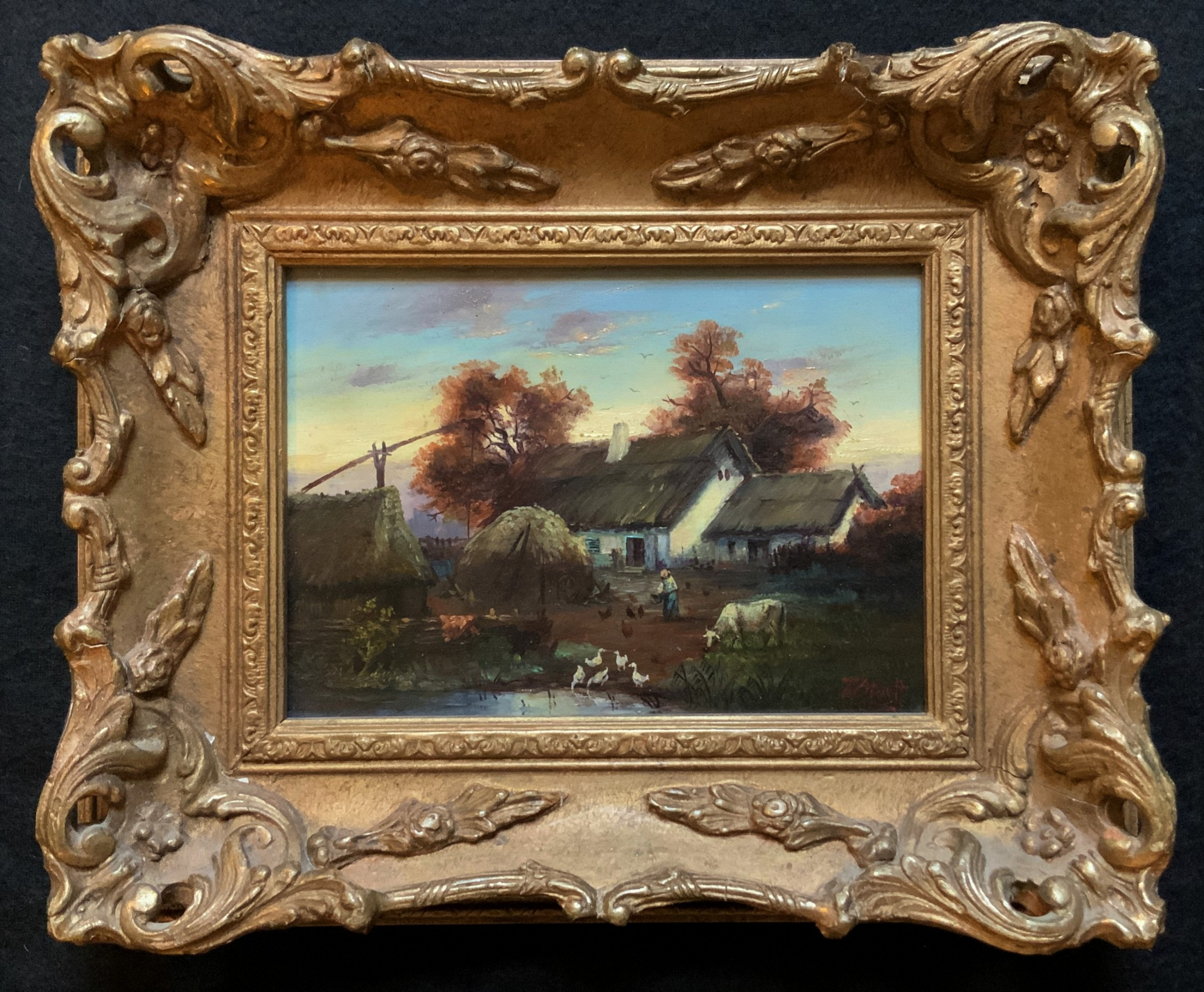 lovely small early 1900s giltframed sunset landscape oil on panel painting
