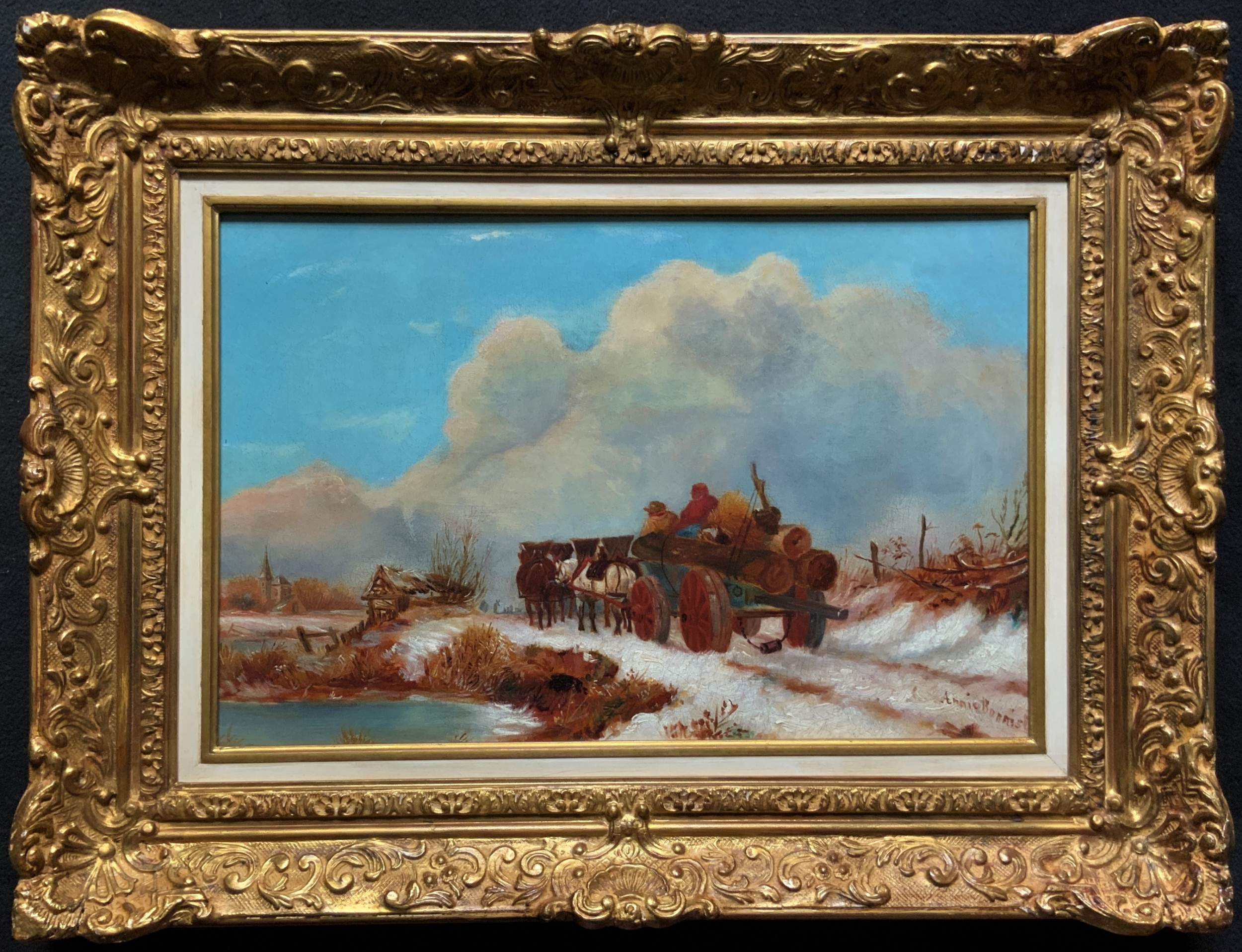 'the loggers return home' superb antique winter landscape oil on canvas painting