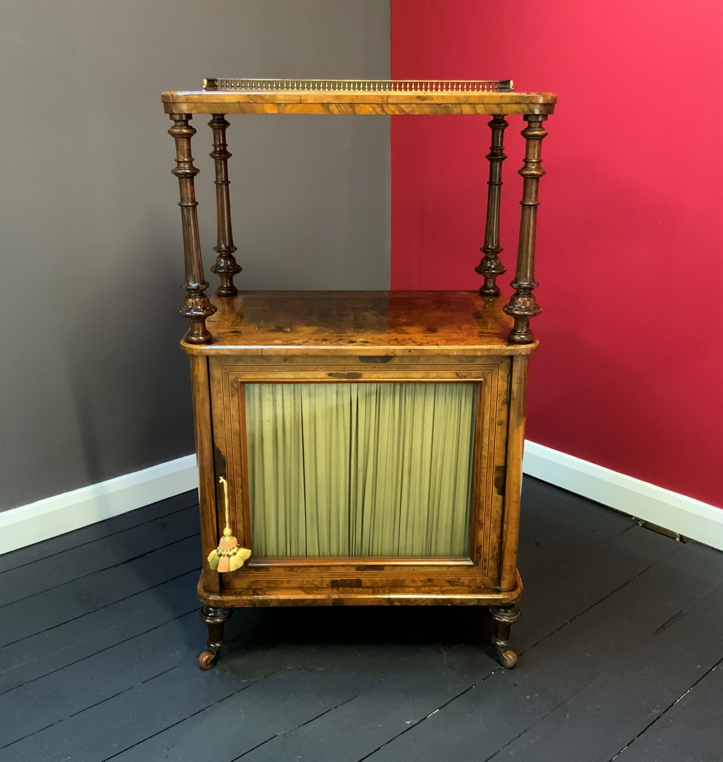 original fully fitted 19thc victorian burr walnut inlaid music display cabinet