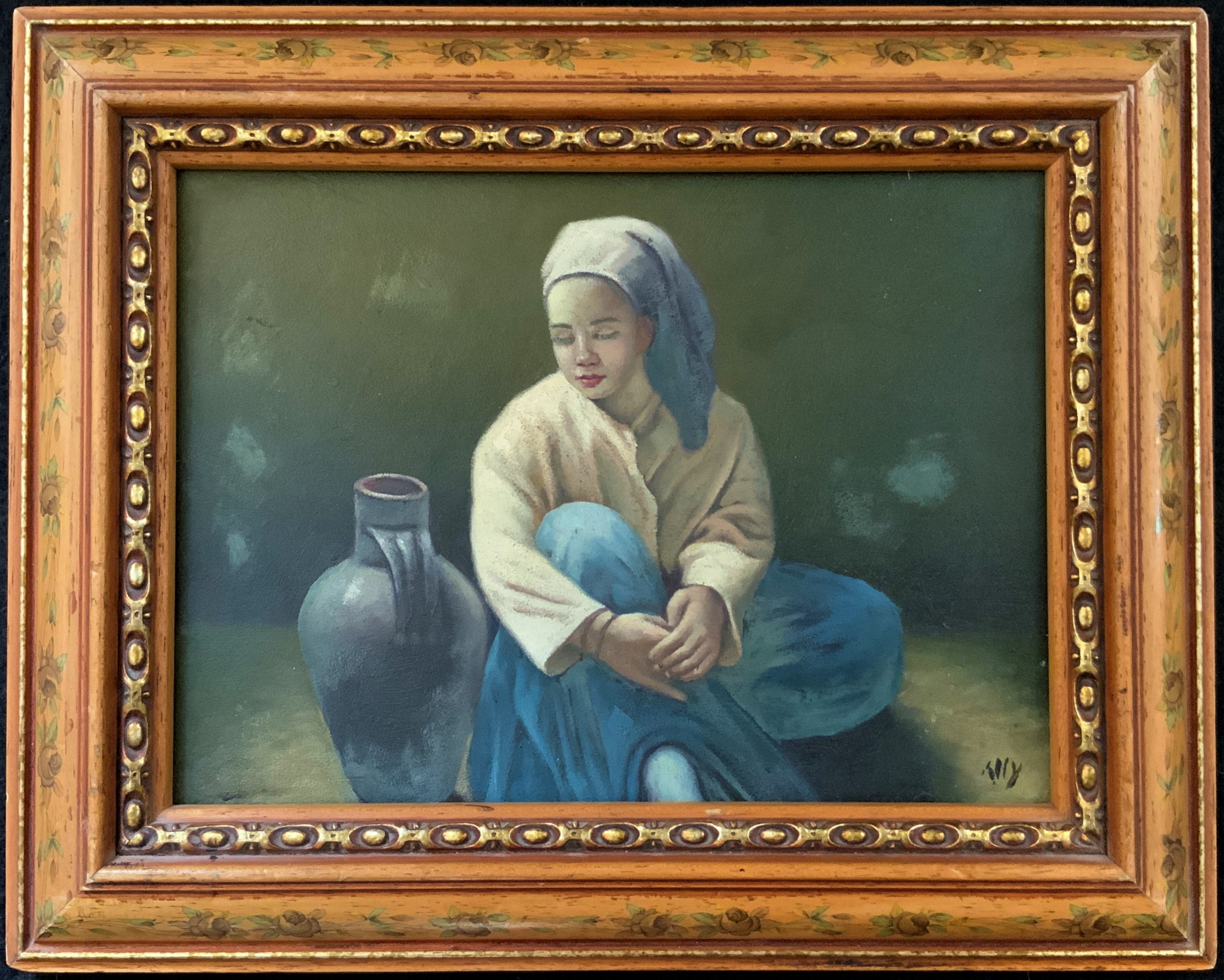 a beautiful original vintage continental oil portrait painting of a seated girl