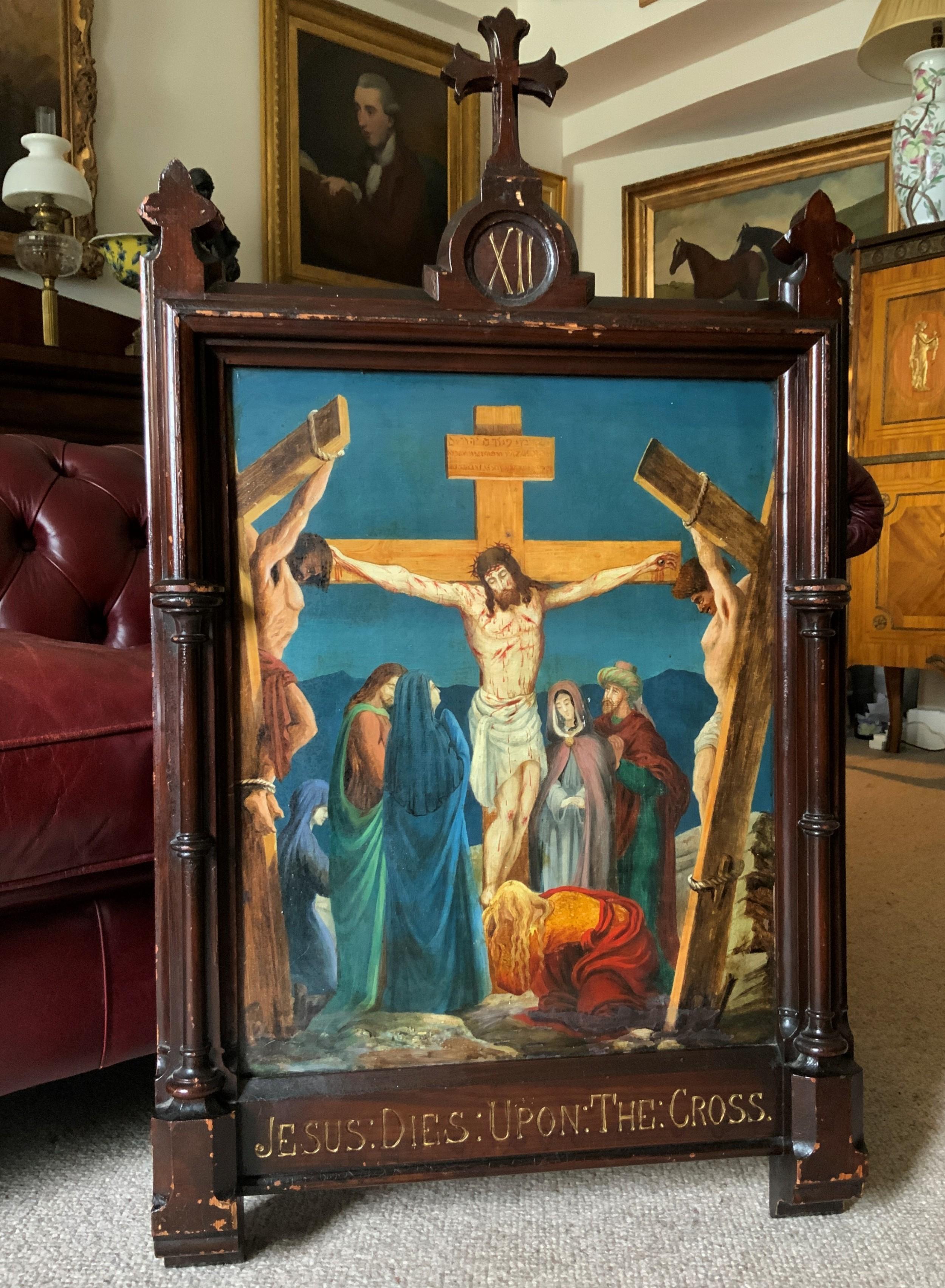 superb 19thc old master biblical christ oil portrait painting gothic oak frame