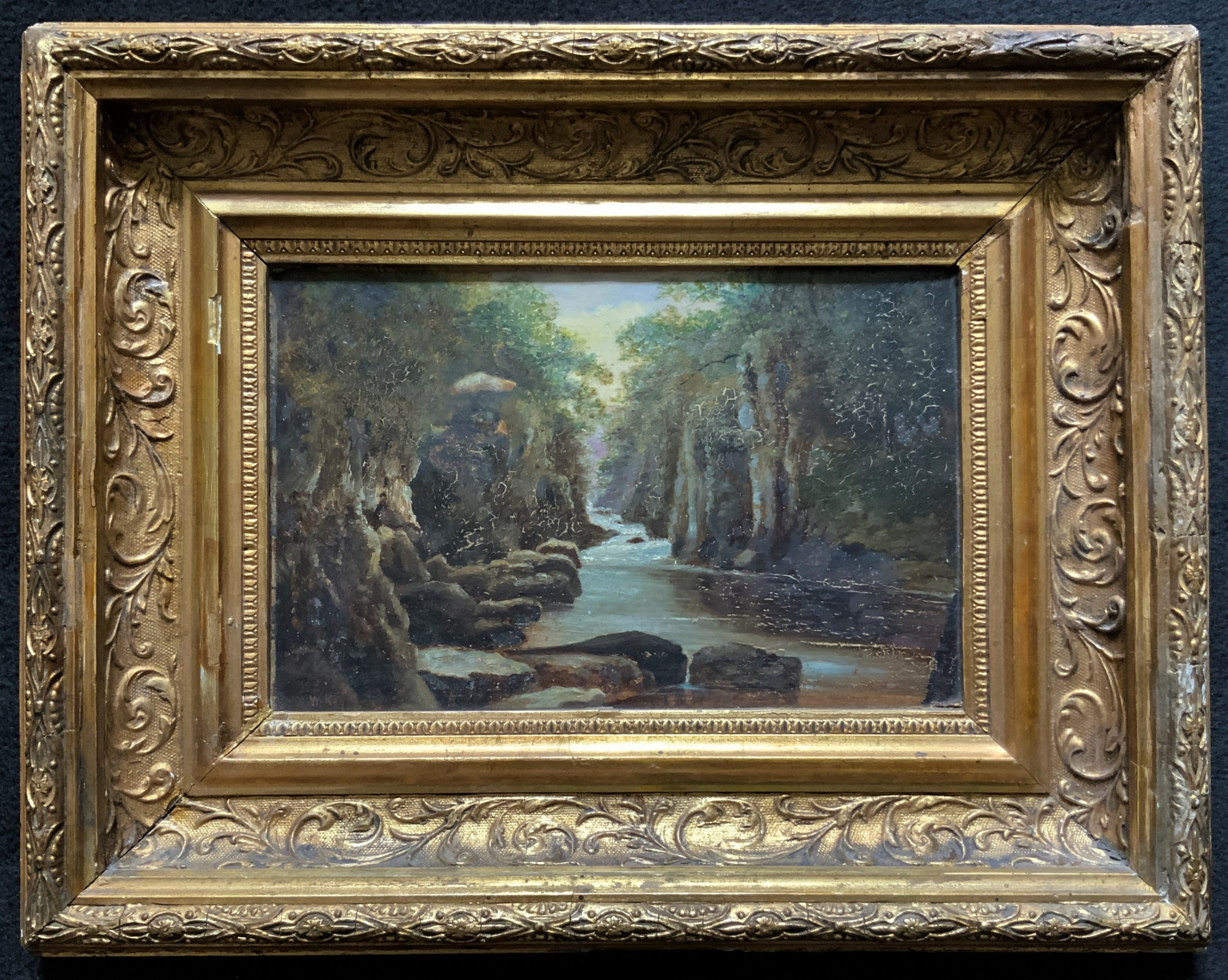 a small original 19th century victorian woodland river landscape oil painting