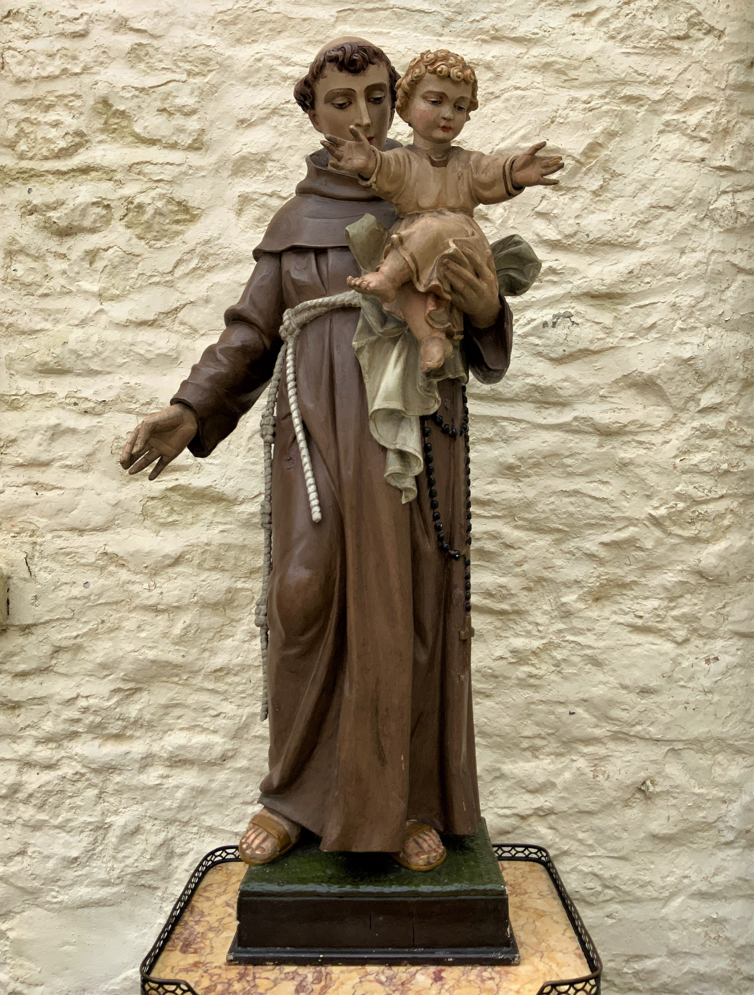 exceptional early 1900's signed 39'' carved sculpture statue st anthony jesus