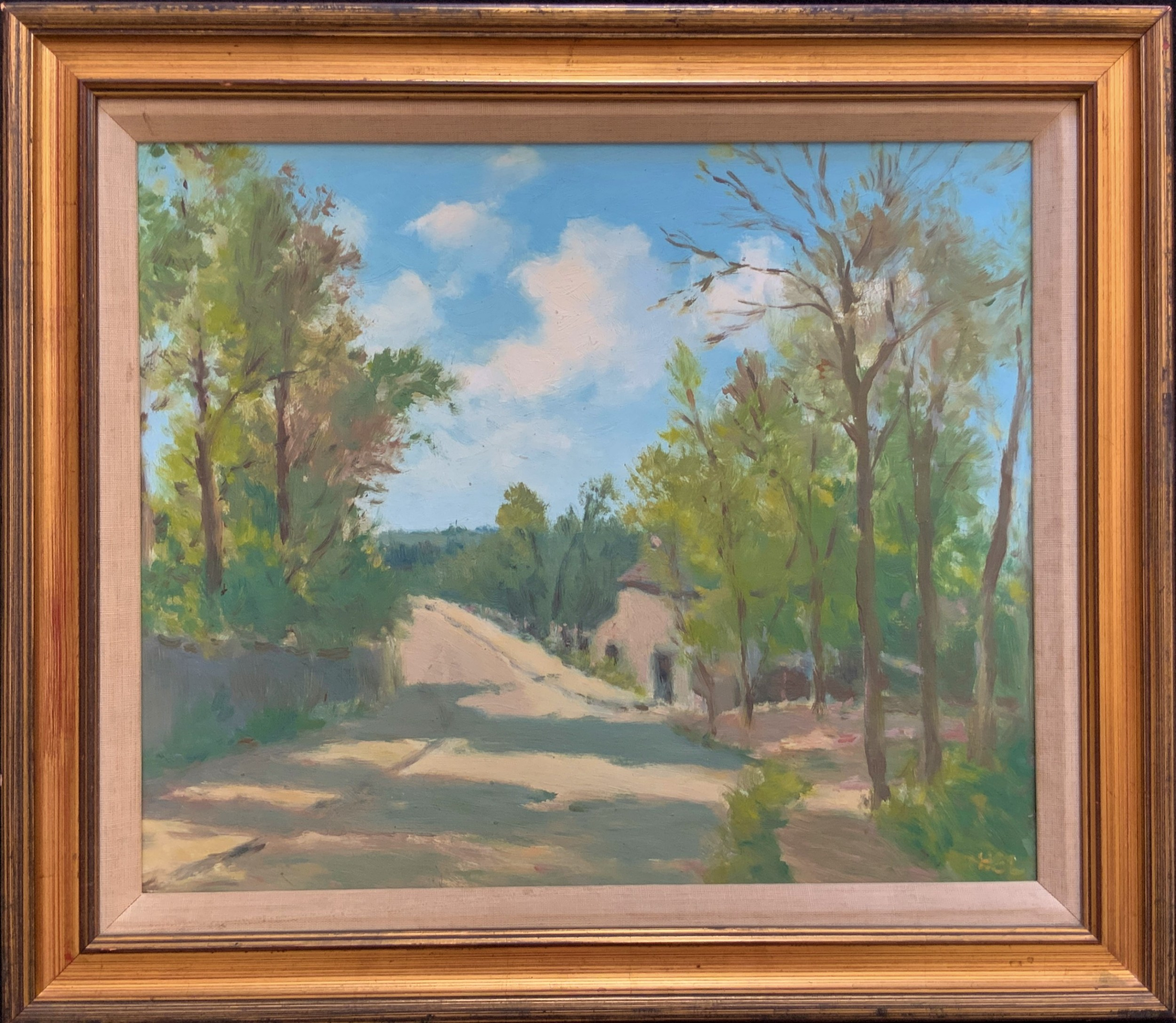 vintage 20thc impressionist rural country landscape oil painting by h e lewis