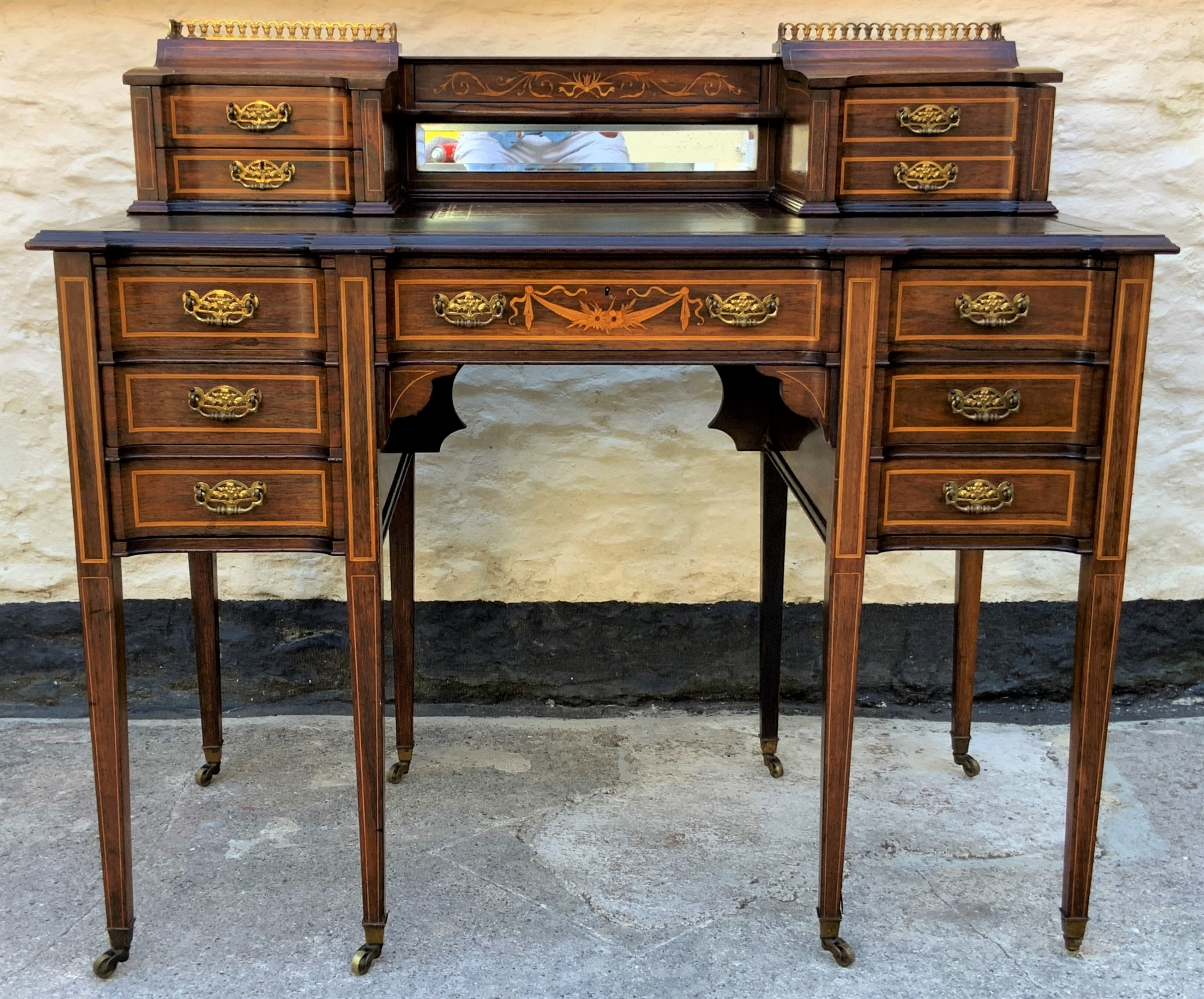 maple co stunning edwardian marquetry rosewood library writing table desk